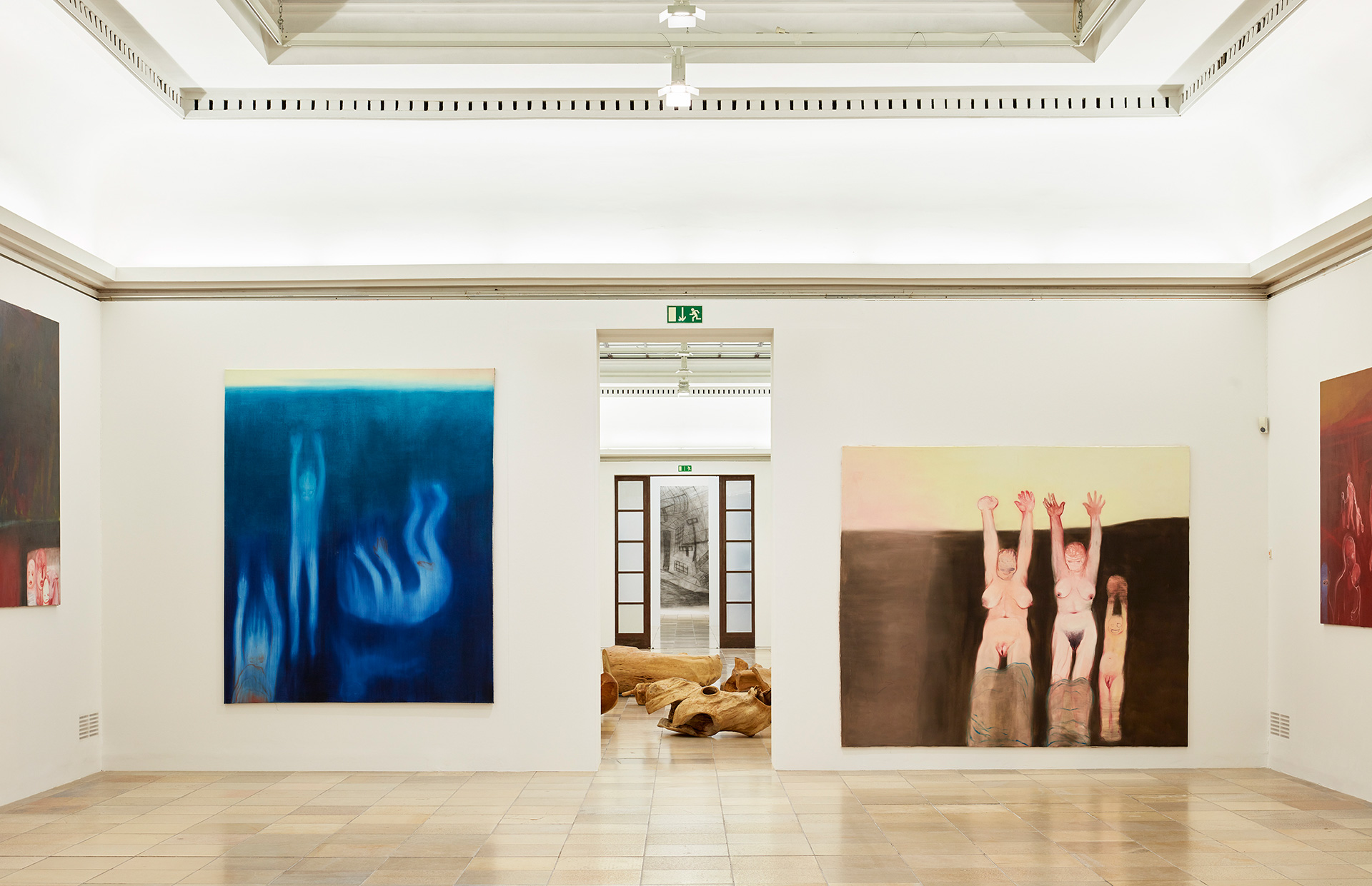 Miriam Cahn, BLUE and hands-high, 2019, exhibition view / installation view Haus der Kunst | I AS HUMAN | Miriam Cahn | STIRworld