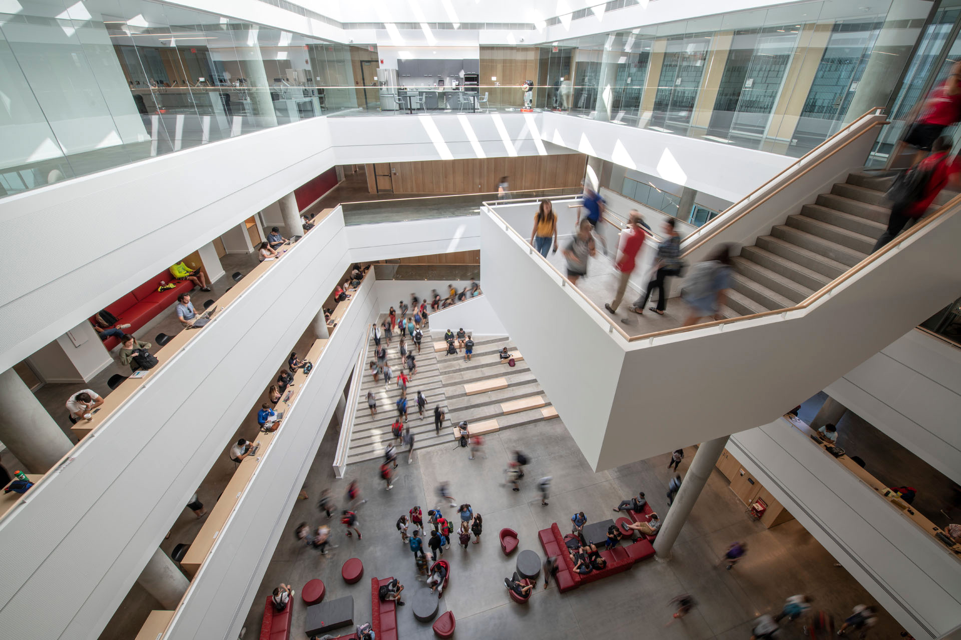 The atrium offers multiple avenues for for learning outside the confines of classrooms | University of Cincinnati's Lindner College of Business | Henning Larsen | STIRworld