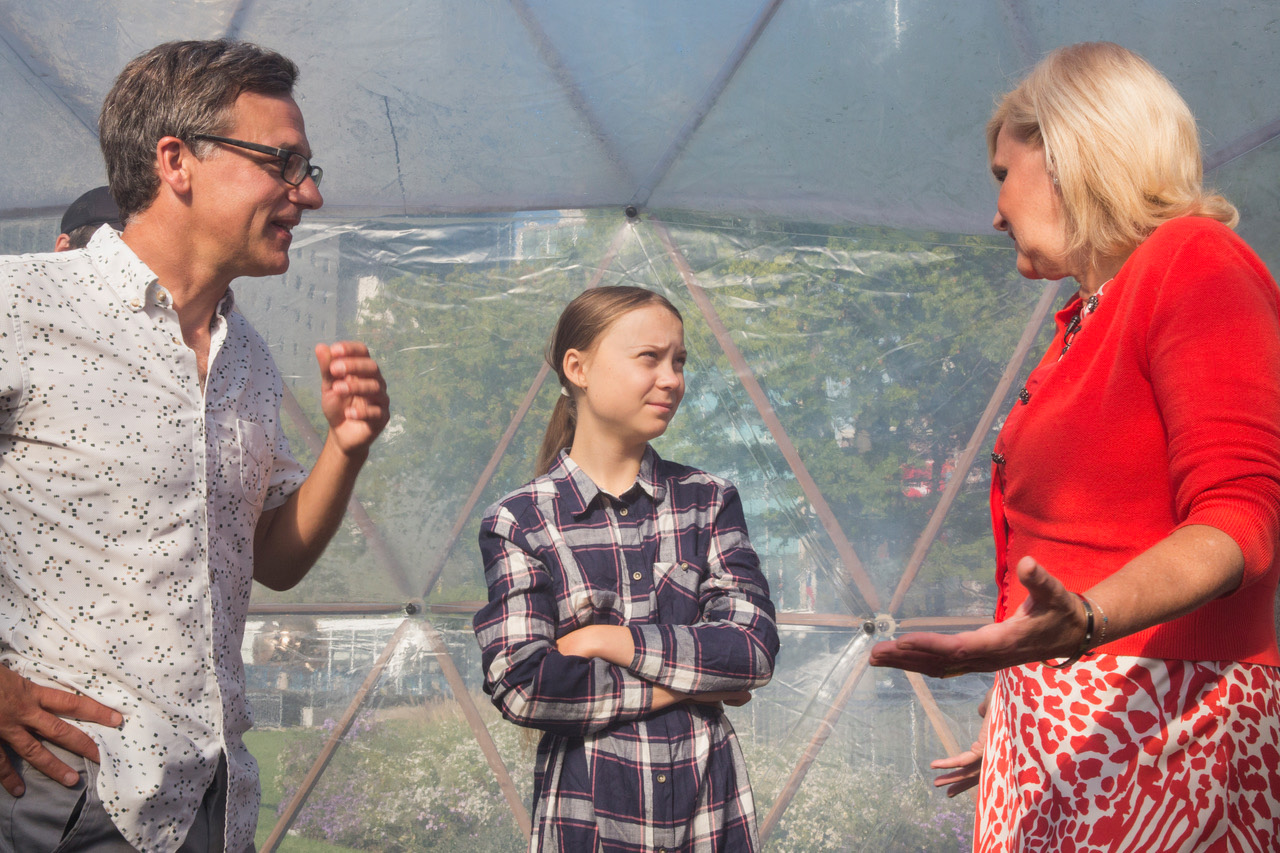 Artist Michael Pinsky, climate activist Greta Thunberg and Dr Maria Neira from WHO inside the Pollution Pods at the UN Climate Action Summit | Pollution Pods | Michael Pinsky | STIRworld