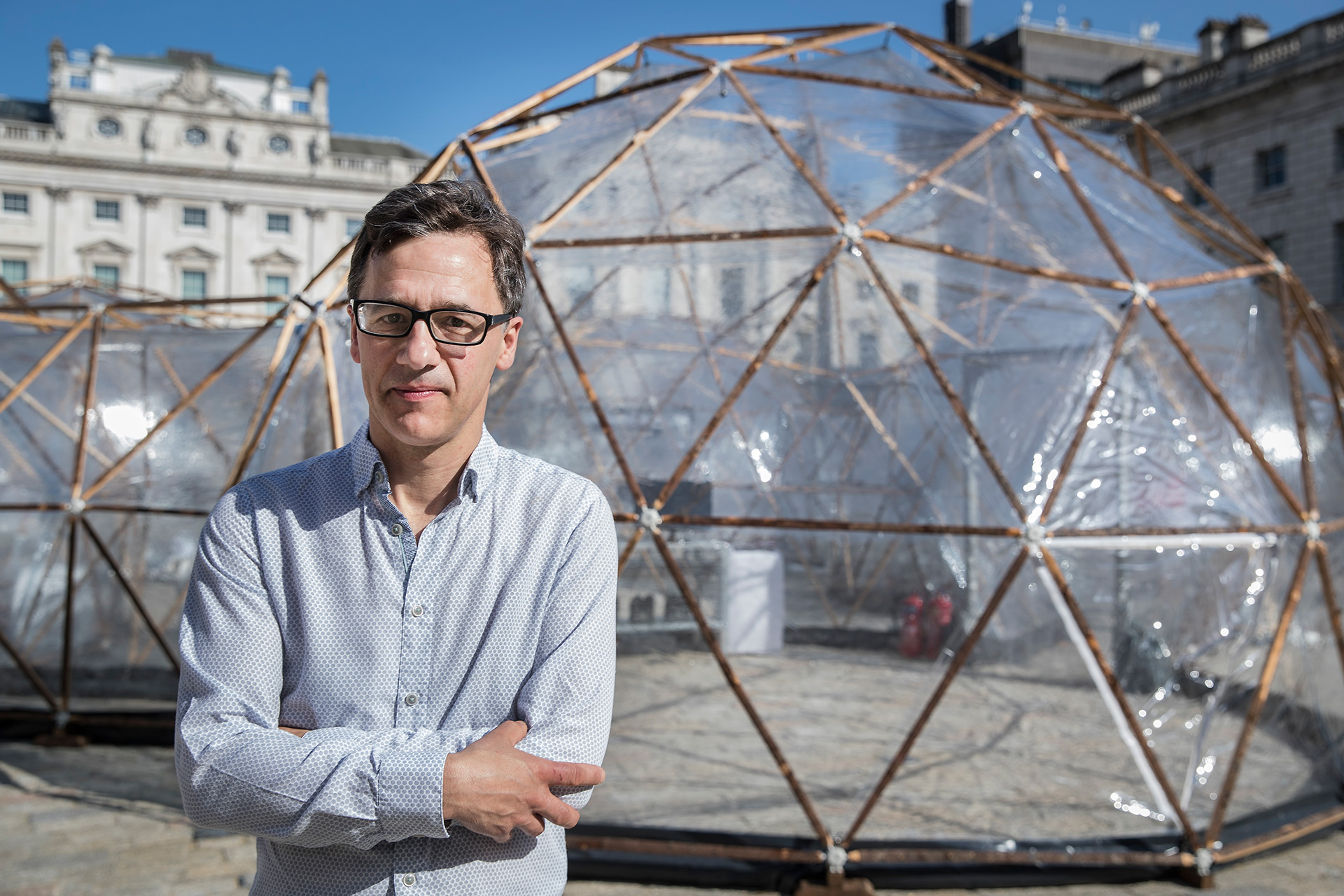 Artist Michael Pinsky with his installation Pollution Pods in the background | Michael Pinsky | STIRworld
