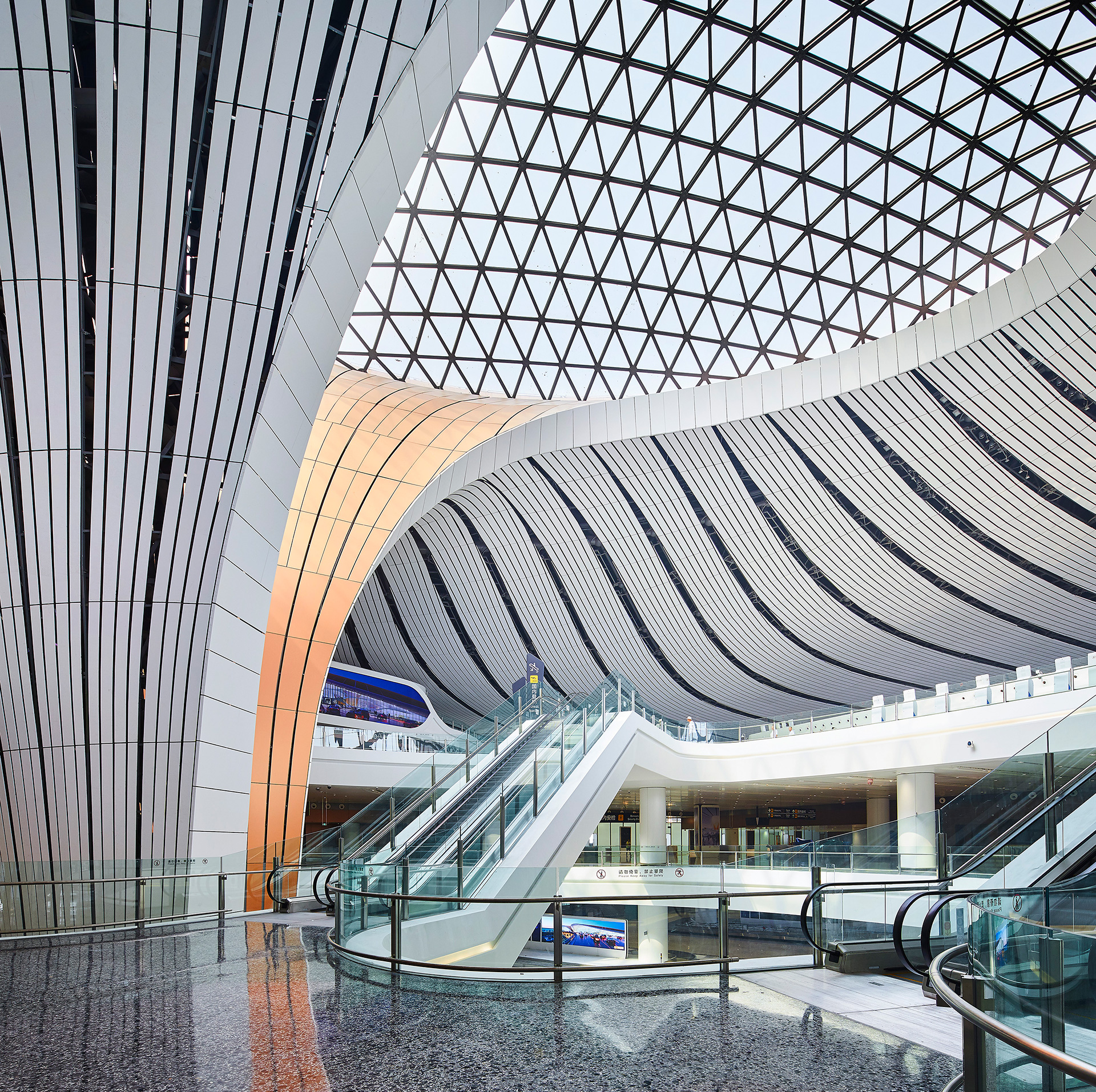One of the six fluid structural forms supporting the vaulted roof lets natural night in | Beijing Daxing International Airport | Zaha Hadid Architects | STIRworld