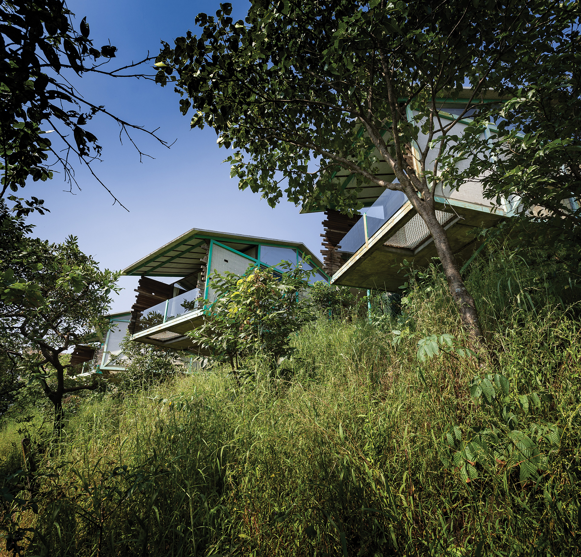 A series of six <i>Tarangan</i> cottages cantilever off an axial spine look towards a grove | Kondan Resort | PMA madhushala | STIRworld