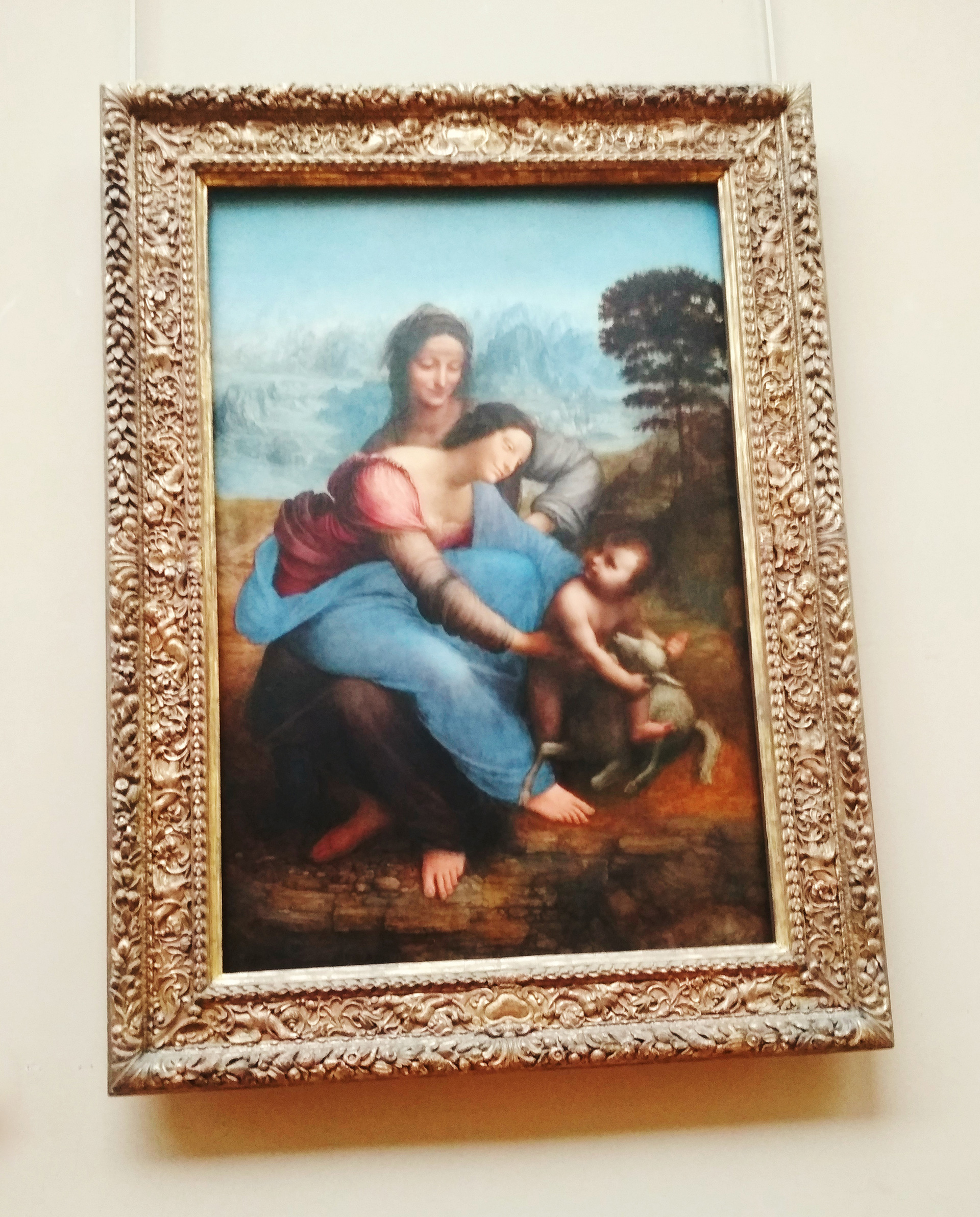 Long shot of the same painting of St Anne and the Virgin with infant Jesus | Leonardo da Vinci | Musée du Louvre | STIRworld
