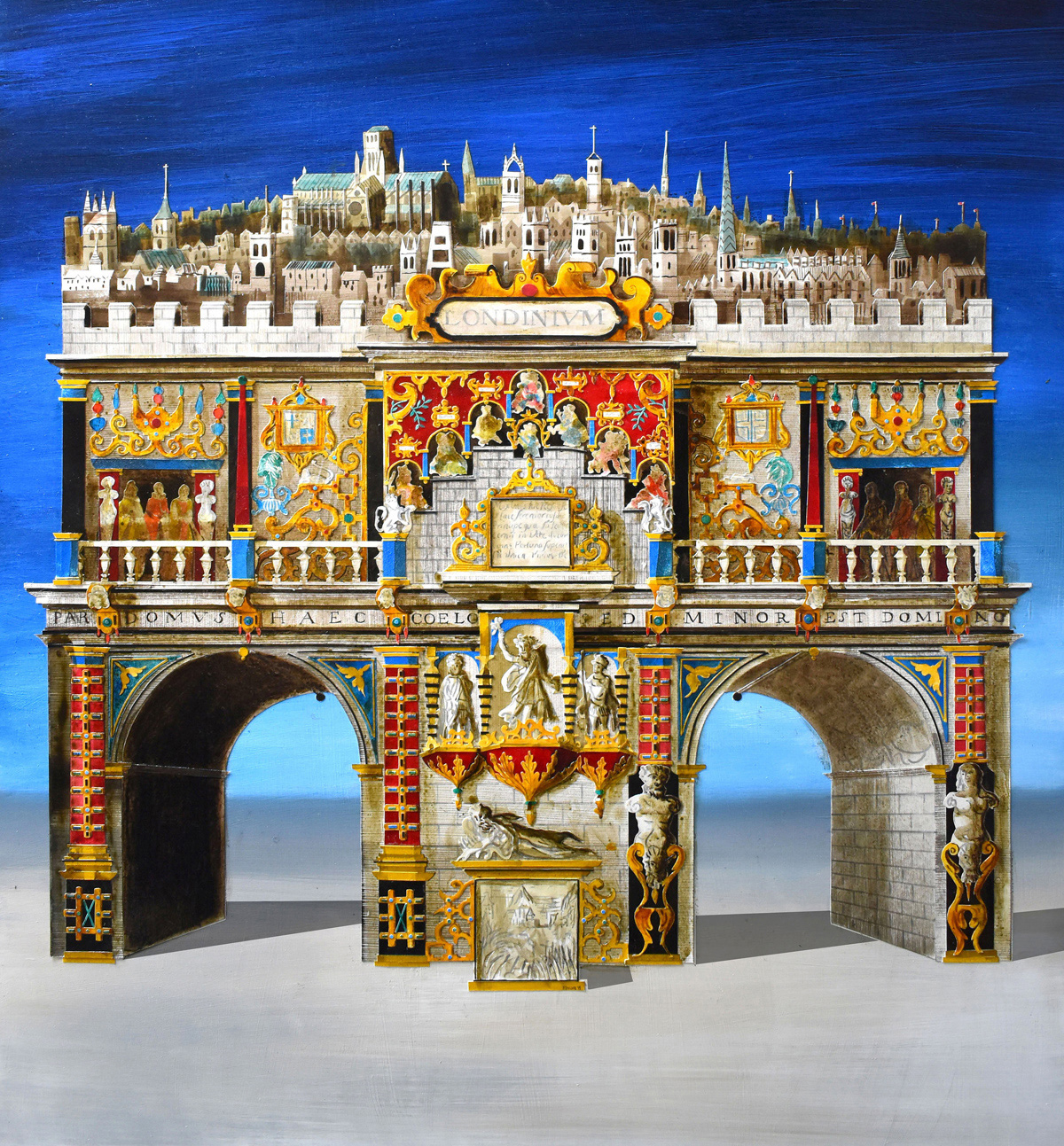 Arch of Londinium – one of the eight temporary Arches of Trimuph created for the coronation of James I in 1604 | Facades by Ed Kluz | John Martin Gallery | STIRworld