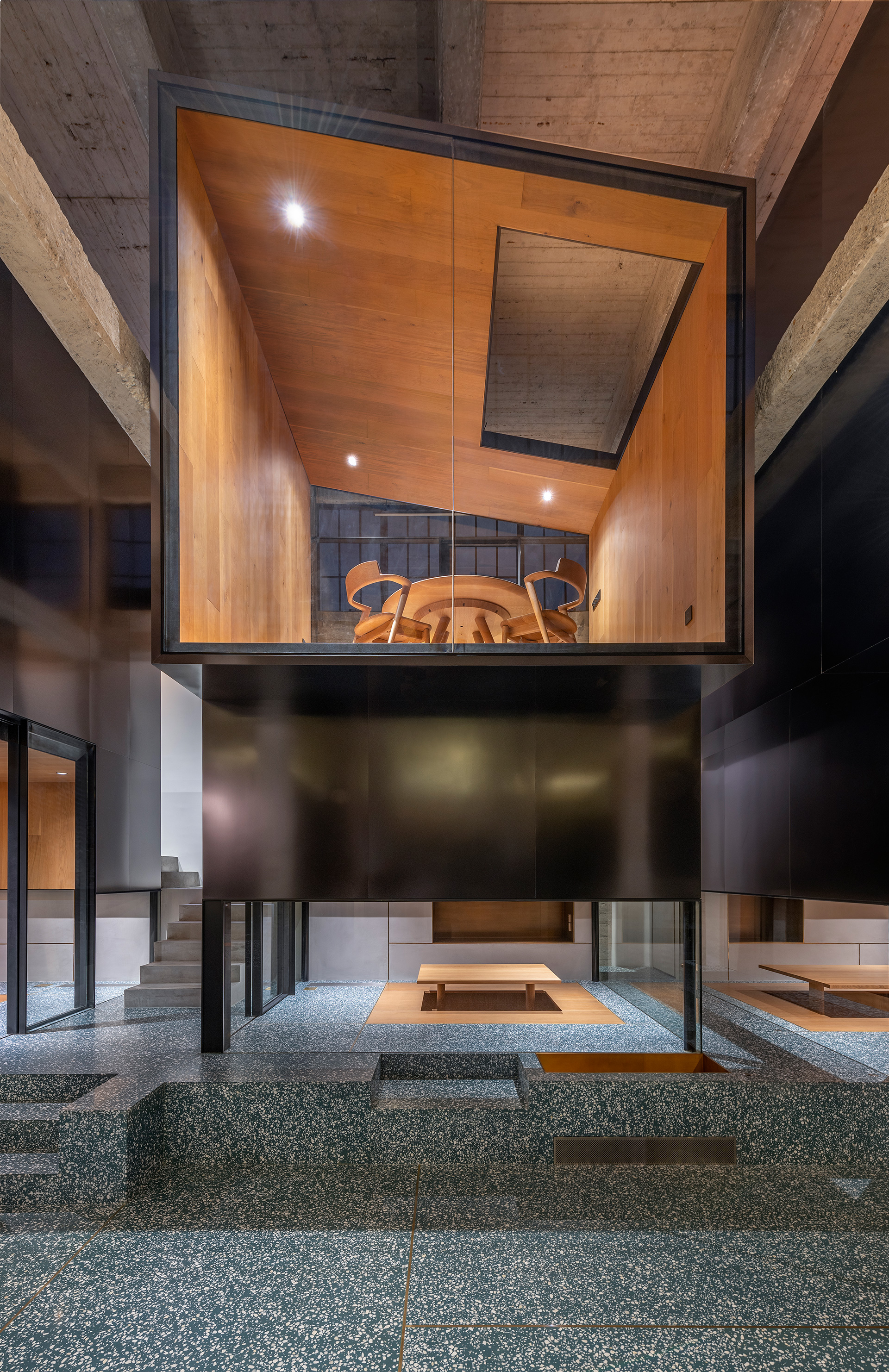 The play of multiple levels offer varying windows of privacy to the visitors | Tingtai Teahouse | Linehouse | STIRworld