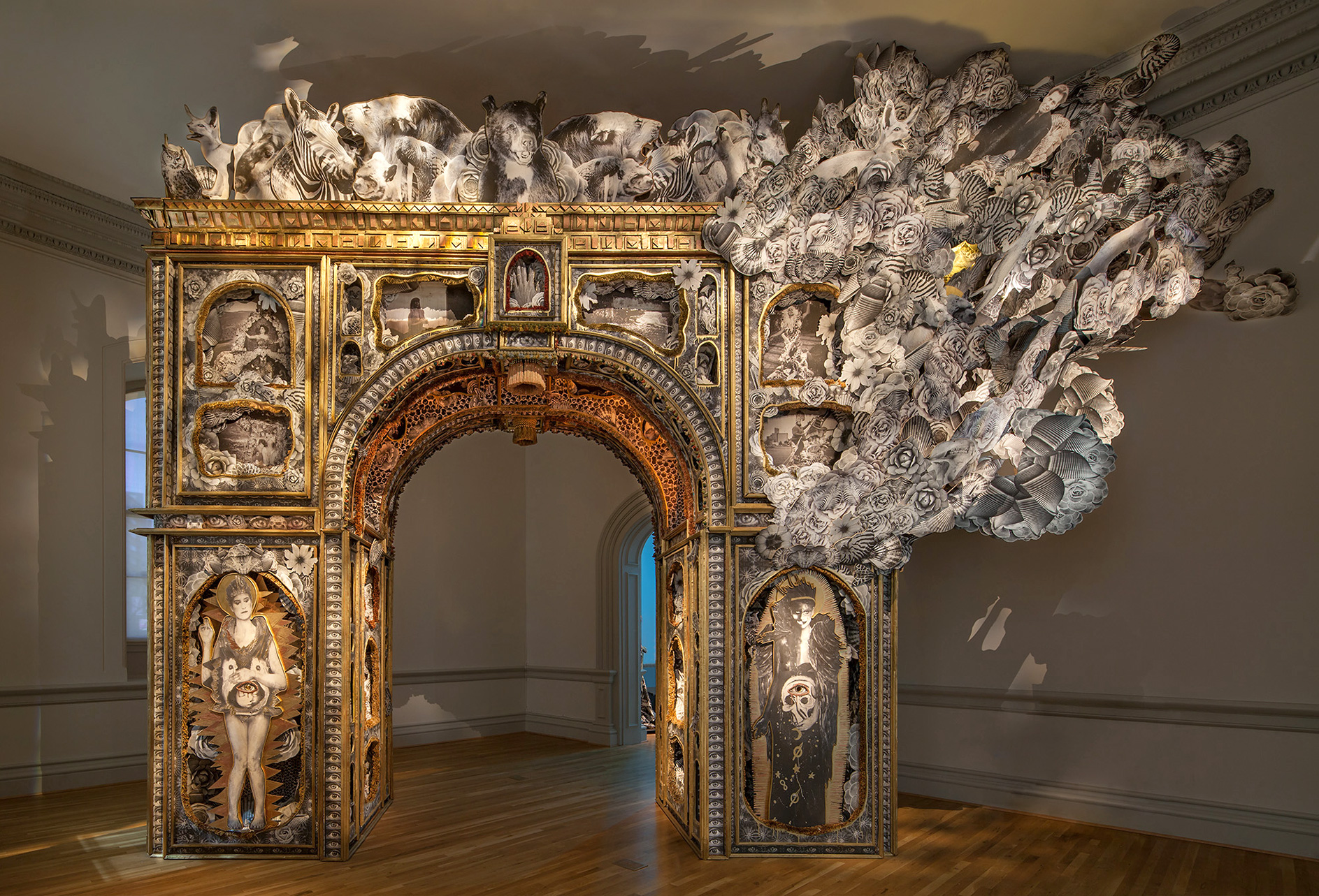 Michael Garlington and Natalia Bertotti, The Paper Arch, 2018 | No Spectators: The Art of Burning Man | Oakland Museum of California | STIRworld
