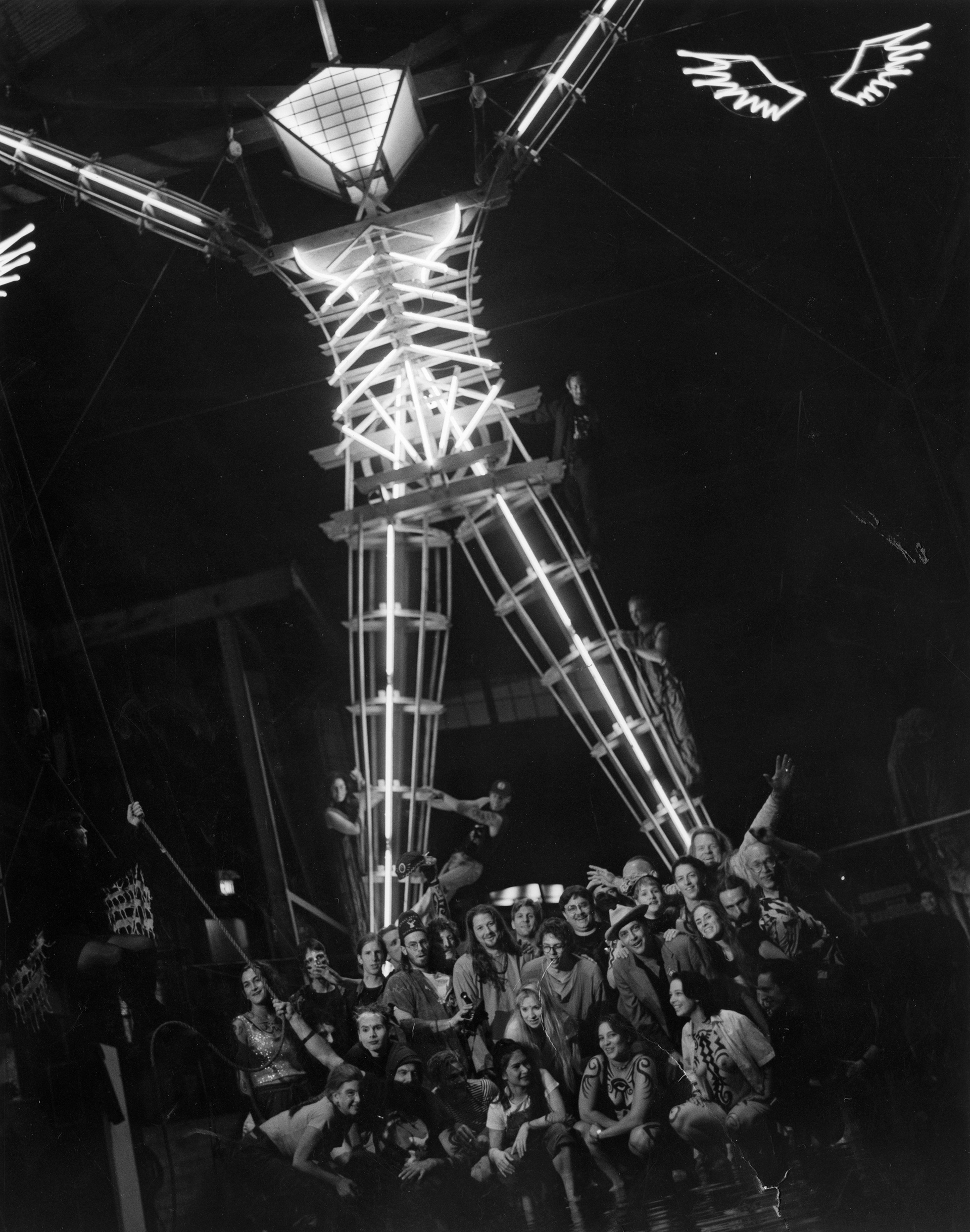 Photograph by Leo Nash of the Man following its construction in the San Francisco Bay Area,1995| No Spectators: The Art of Burning Man | Oakland Museum of California | STIRworld