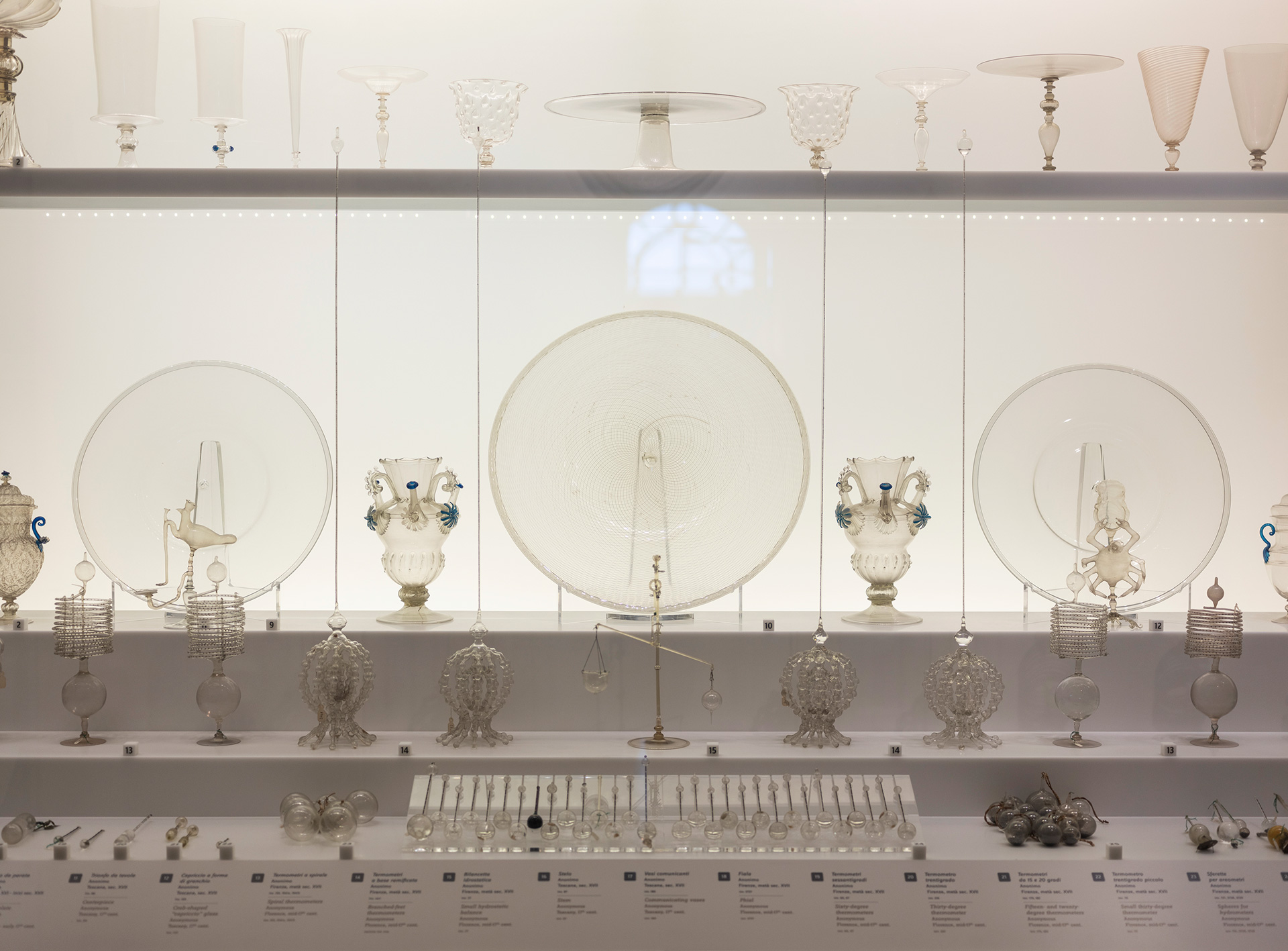 Museo Galileo, showcase with scientific glass instruments and thermometers of the Accademia del Cimento, 17th century, Florence, Italy, 2018 | Blind Sensorium. Il Paradosso dell'Antropocene | Armin Linke | STIRworld