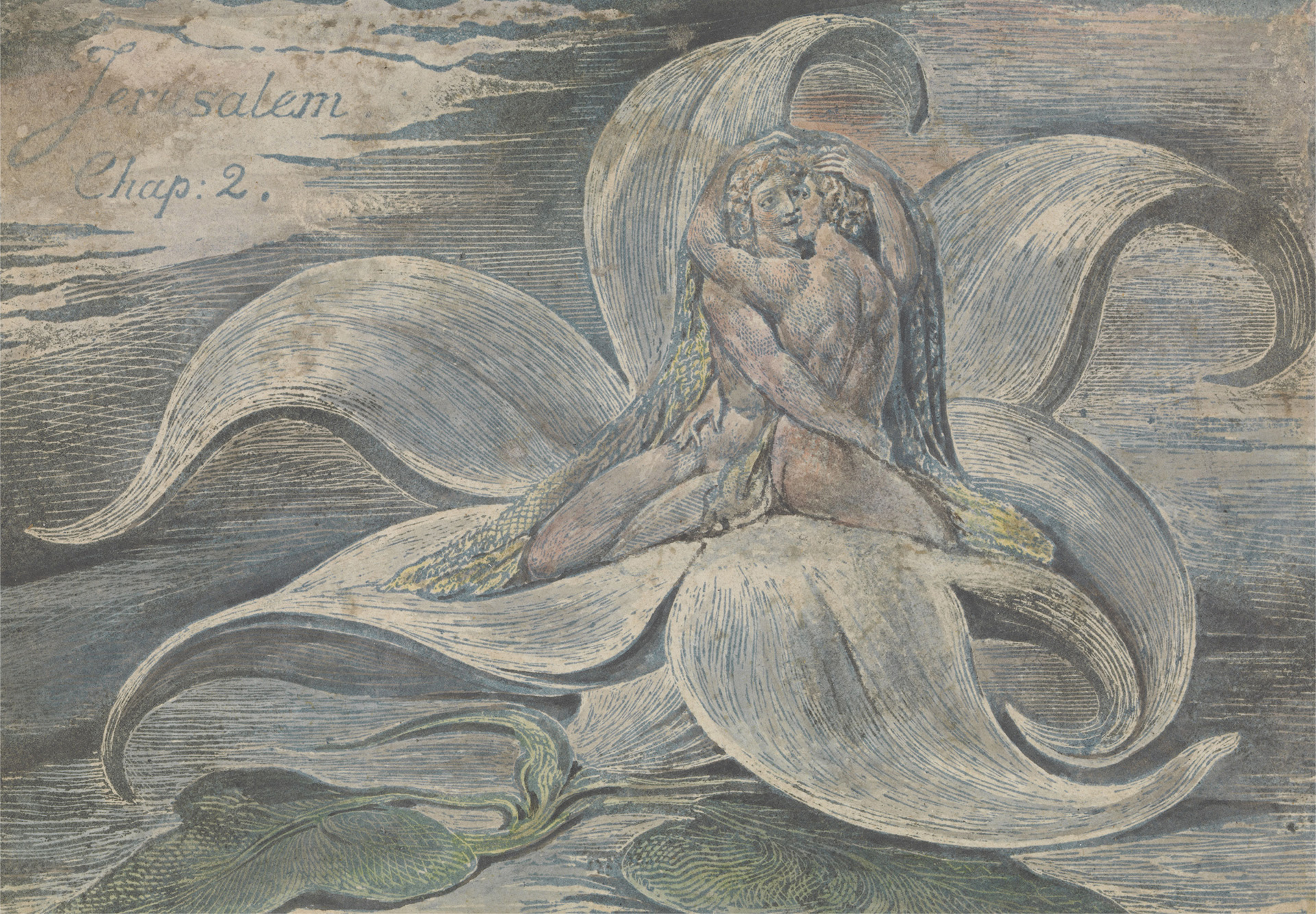 William Blake, Jerusalem, Plate 28, proof Impression, top design only, 1820| Largest survey show of work by William Blake | STIRworld