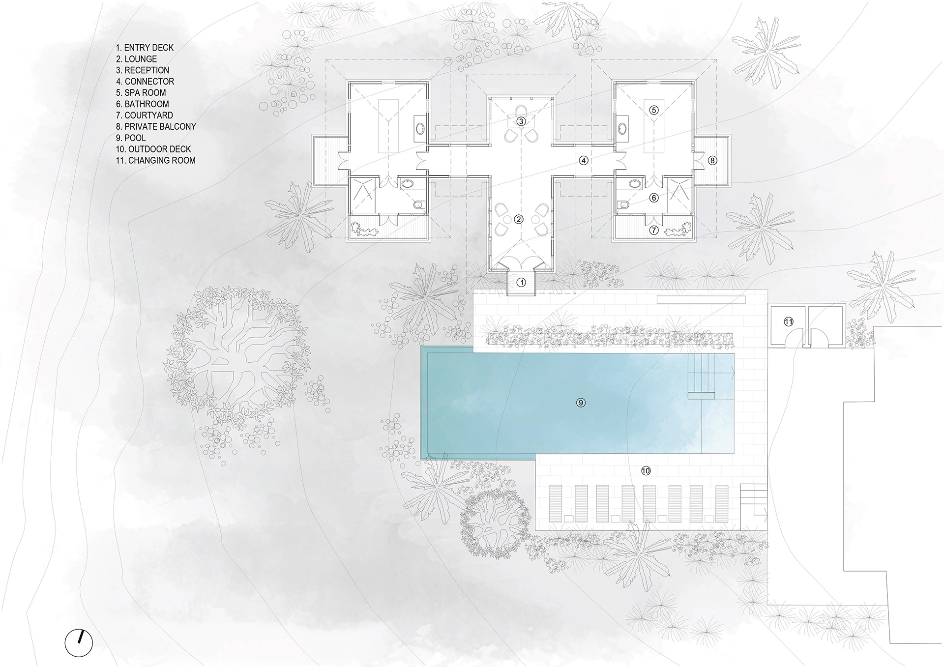Plan - Spa and pool area | Cardomom Club| Kumar La Noce | Kerala | India | STIRworld