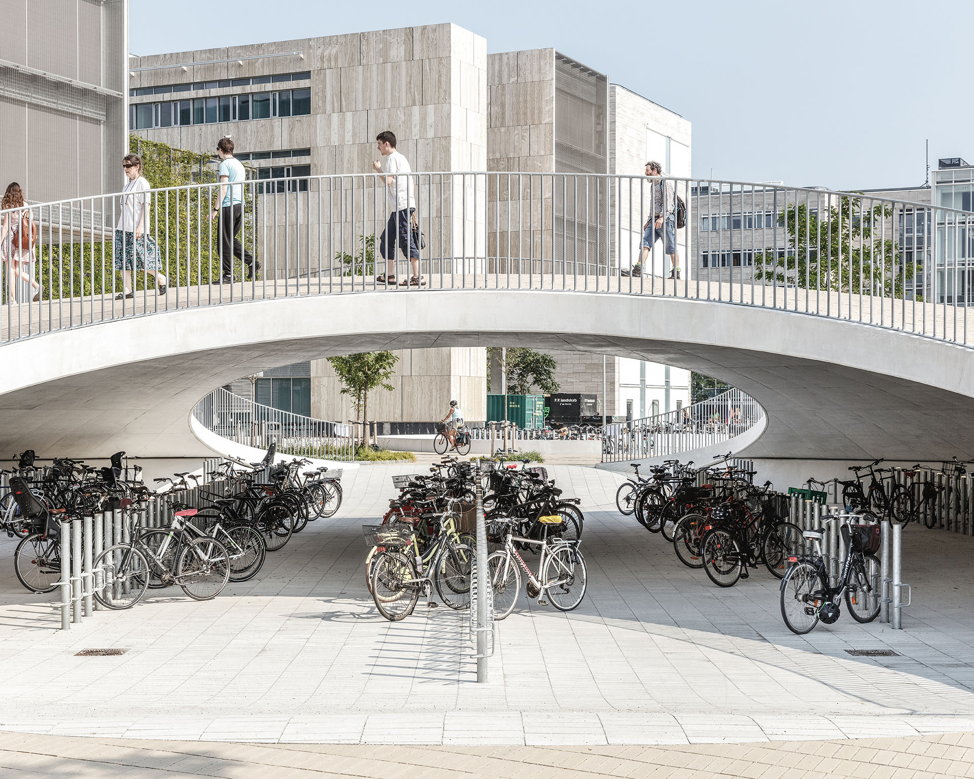 Located in the vicinity of University of Copenhagen, the project offers parking space for nearly 2,000 bicycles | Karen Blixens Plads | COBE | STIRworld