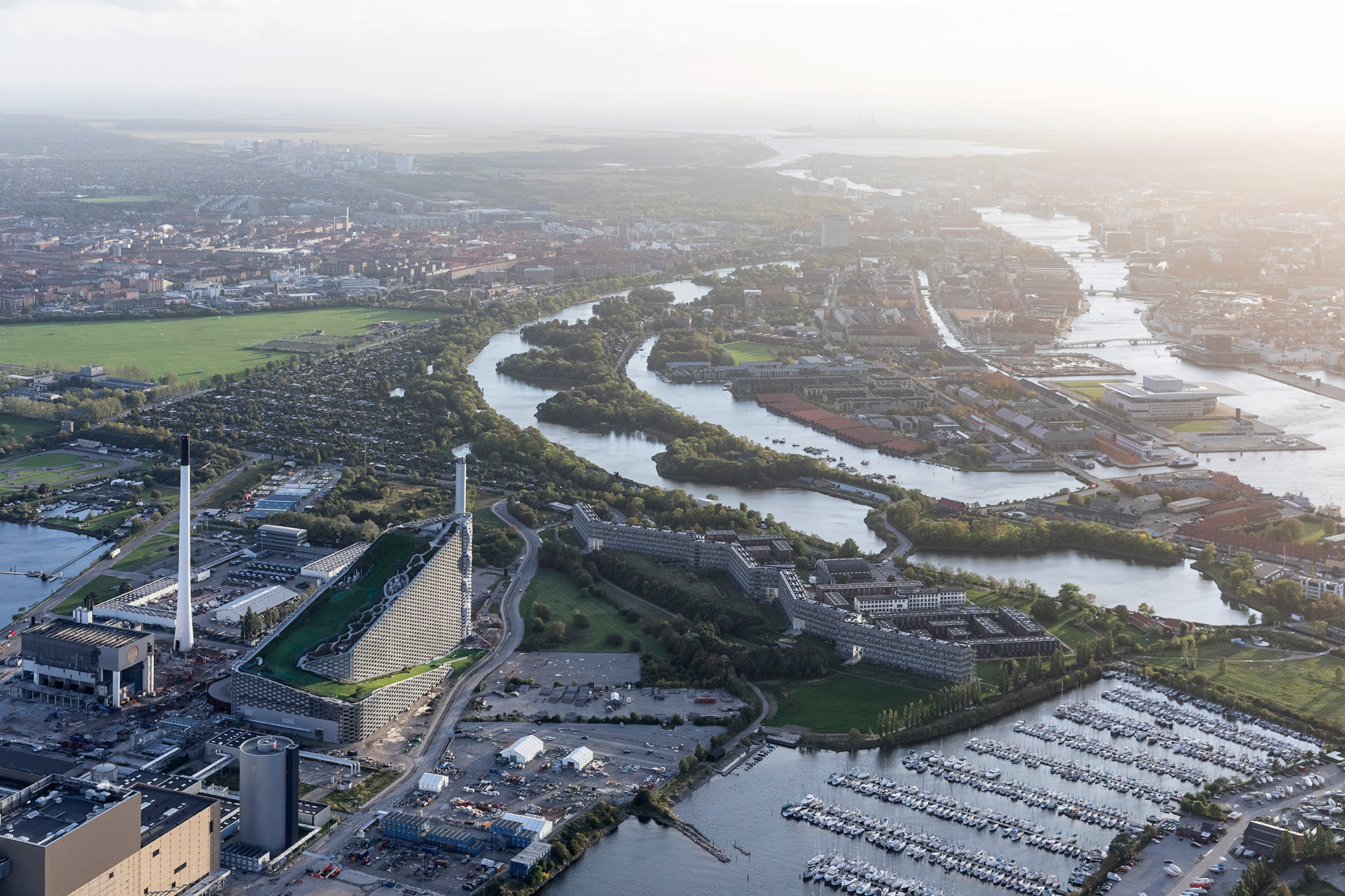 An aerial view of the CopenHill and Amager | Copenhill | Denmark | BIG | Bjarke Ingles Group | STIRworld