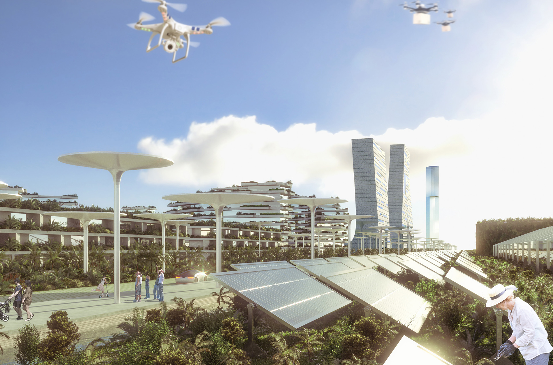 A ring of solar panels will dot the city making it energy sufficient | Smart Forest City | Stefano Boeri Architetti | STIRworld