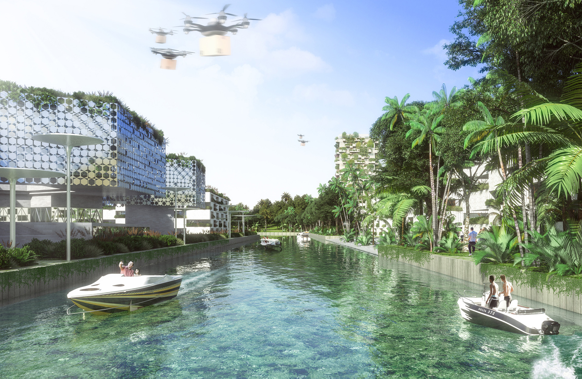 Water will be distributed within the city through a system navigable canals  | Smart Forest City | Stefano Boeri Architetti | STIRworld