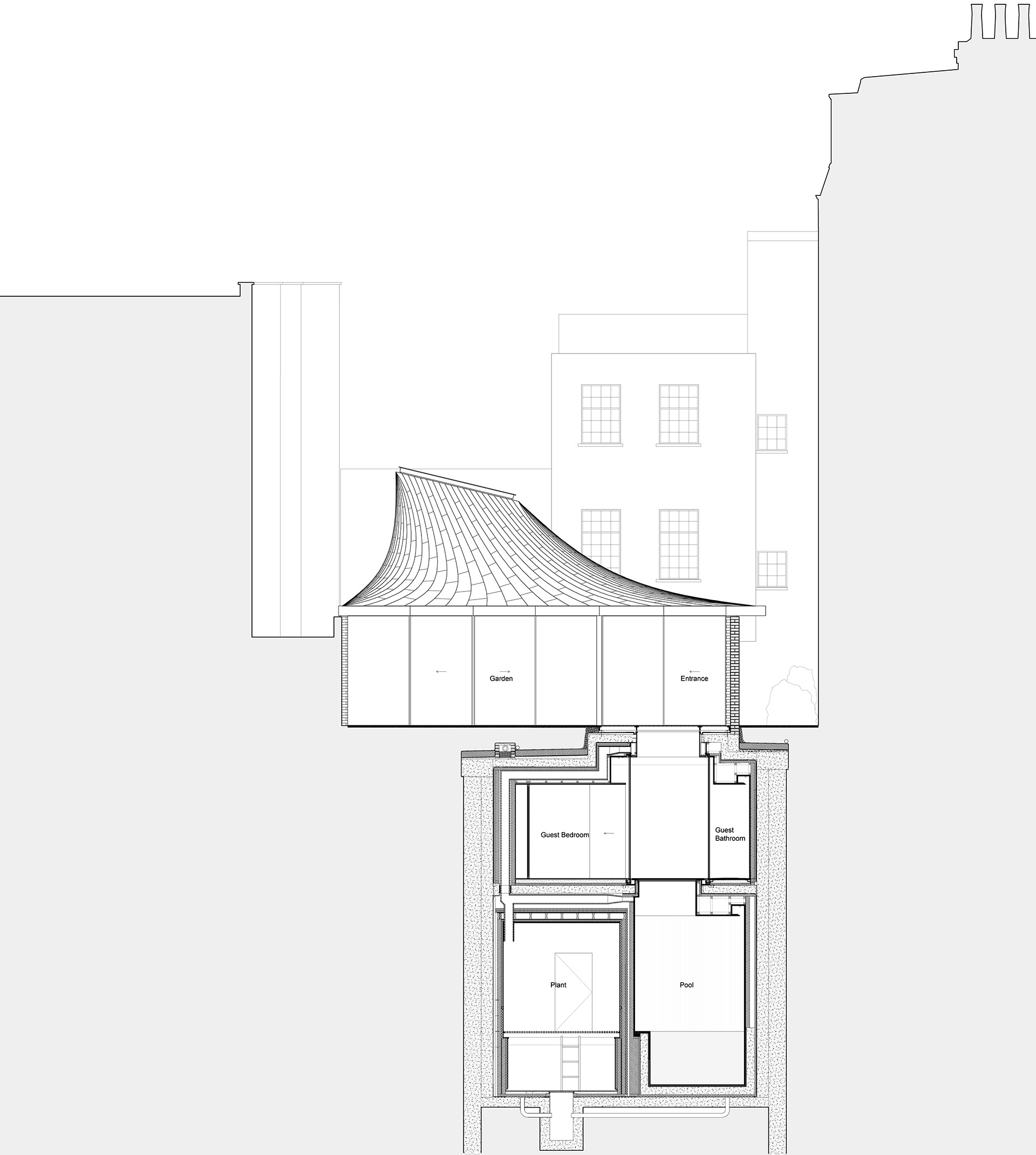 Section | House in a Garden, London by Gianni Botsford Architects | STIRworld
