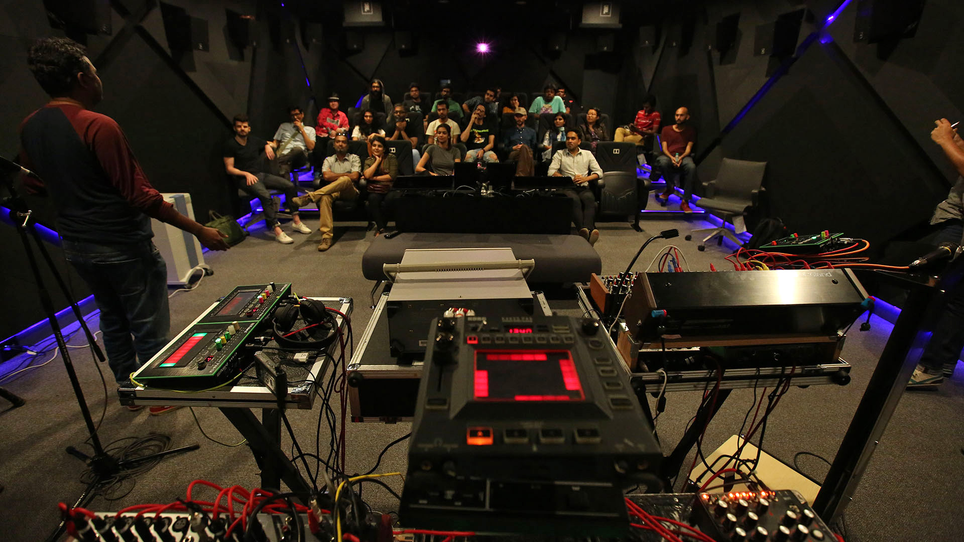 EyeMyth 2016 Mumbai - a buffet spread of delicious sounding synthesisers and drum machines on display, right before Galcid & Hisashi Saito took over Dolby Labs Mumbai headquarters to conduct an insightful workshop on the subject of analog gear | EyeMyth Media Arts Festival | STIRworld