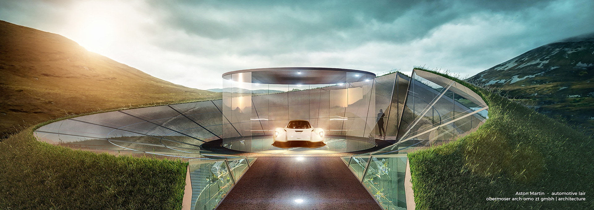 A visualisation of the lairs emerging from the ground | Aston Martin Automotive Galleries and Lairs| STIRworld