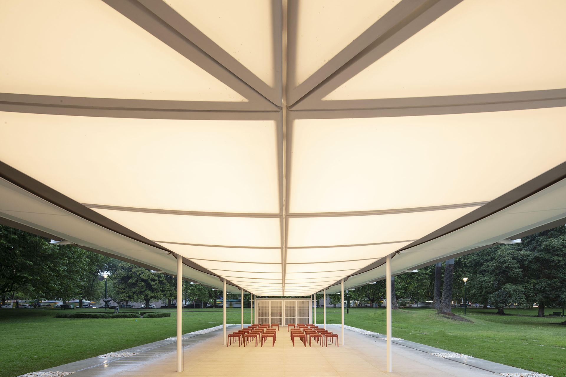 The pavilion has a flap along the edge of the roof, like the aileron on an aircraft wing | MPavilion 2019| Australia | Glenn Murcutt| STIRworld