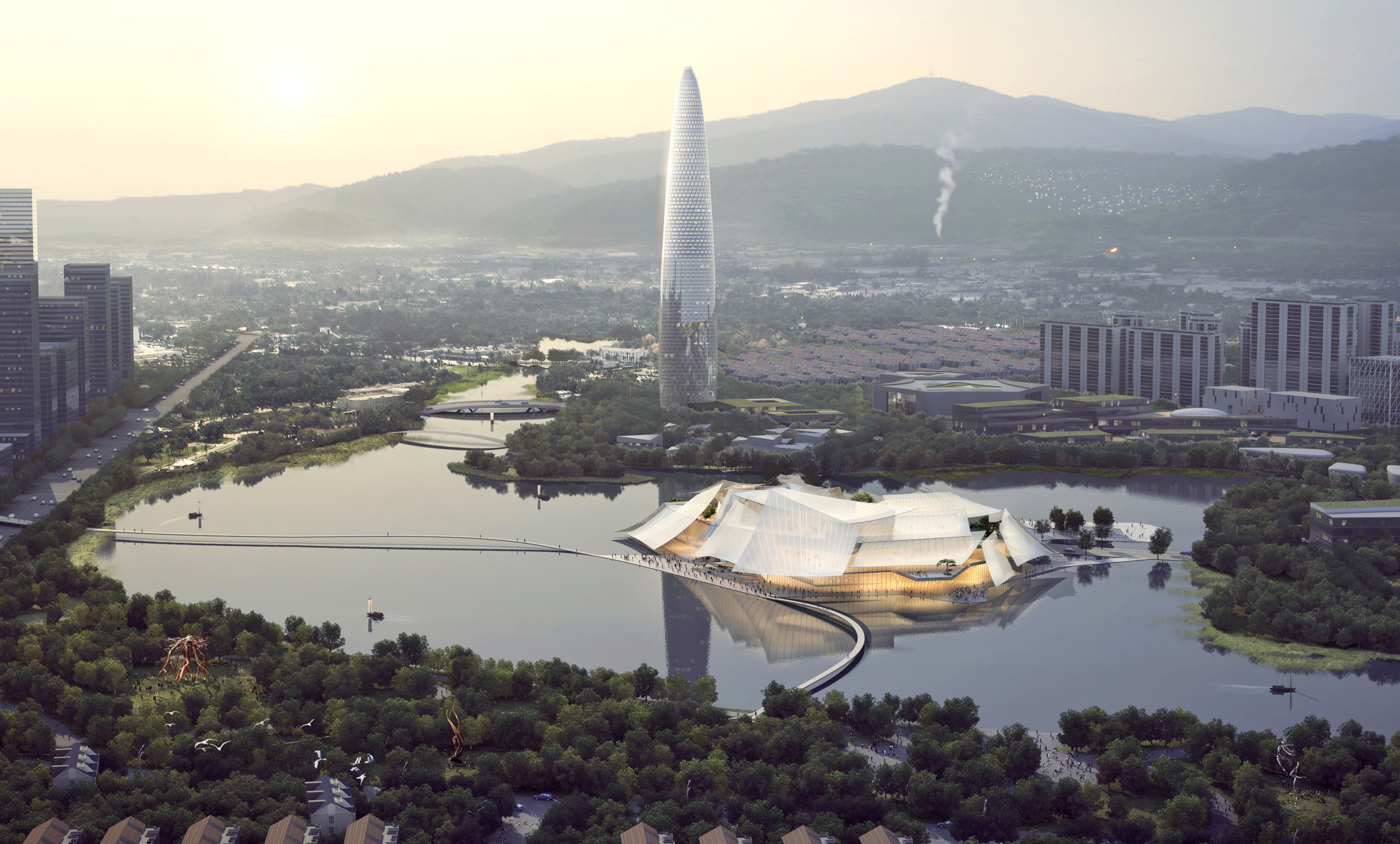MAD's proposal for the Yiwu Grand Theater to soon float over China's Dongyang river | Ma Yansong | MAD Architects | STIRworld
