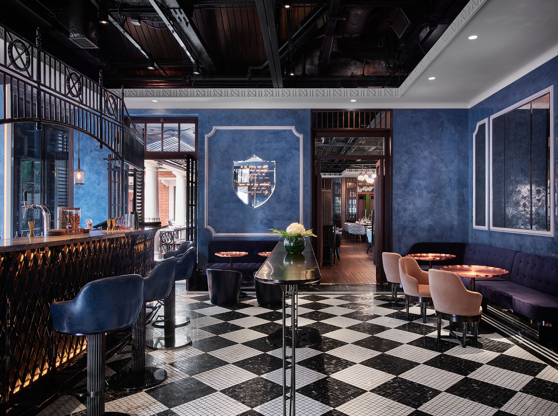 The bar with its checkered flooring at The Dispensary |AB Concept | Ed Ng | Terence Ngan | STIRworld