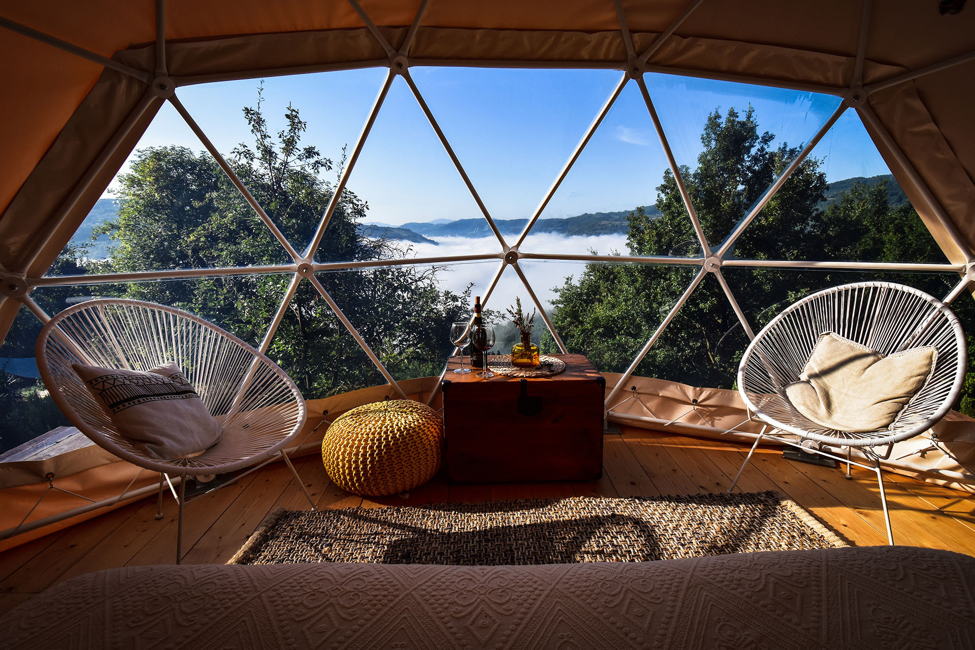Interiors of the dome overlooking the landscape |Glamping| Resorts | STIRworld