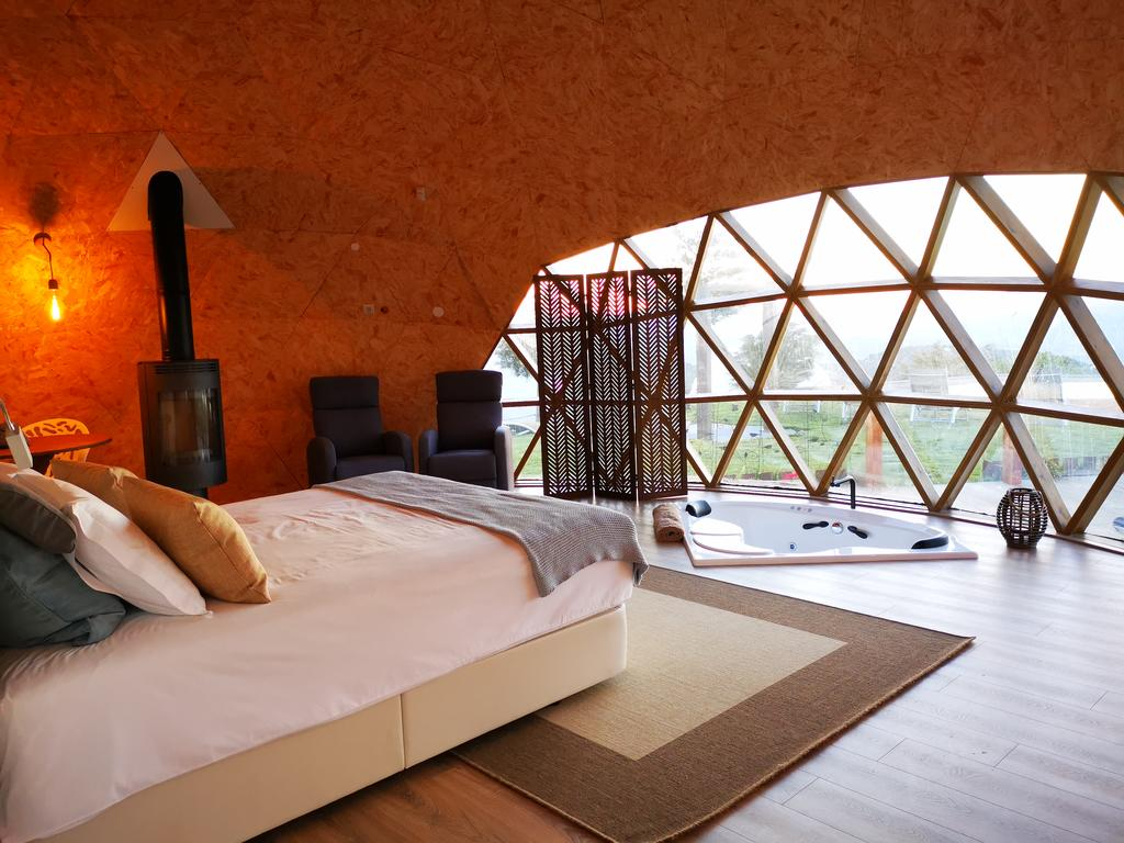Interiors of the geodesic dome at Natura glamping in Portugal |Glamping| Resorts | STIRworld