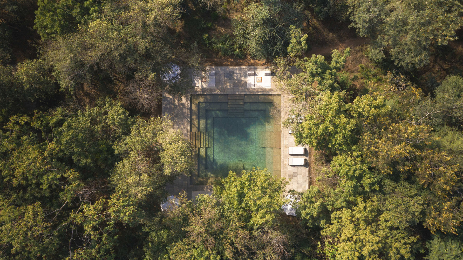 Aerial View of the pool at the Aman-i-khas, Ranthambore, Rajasthan |Glamping| Resorts | STIRworld