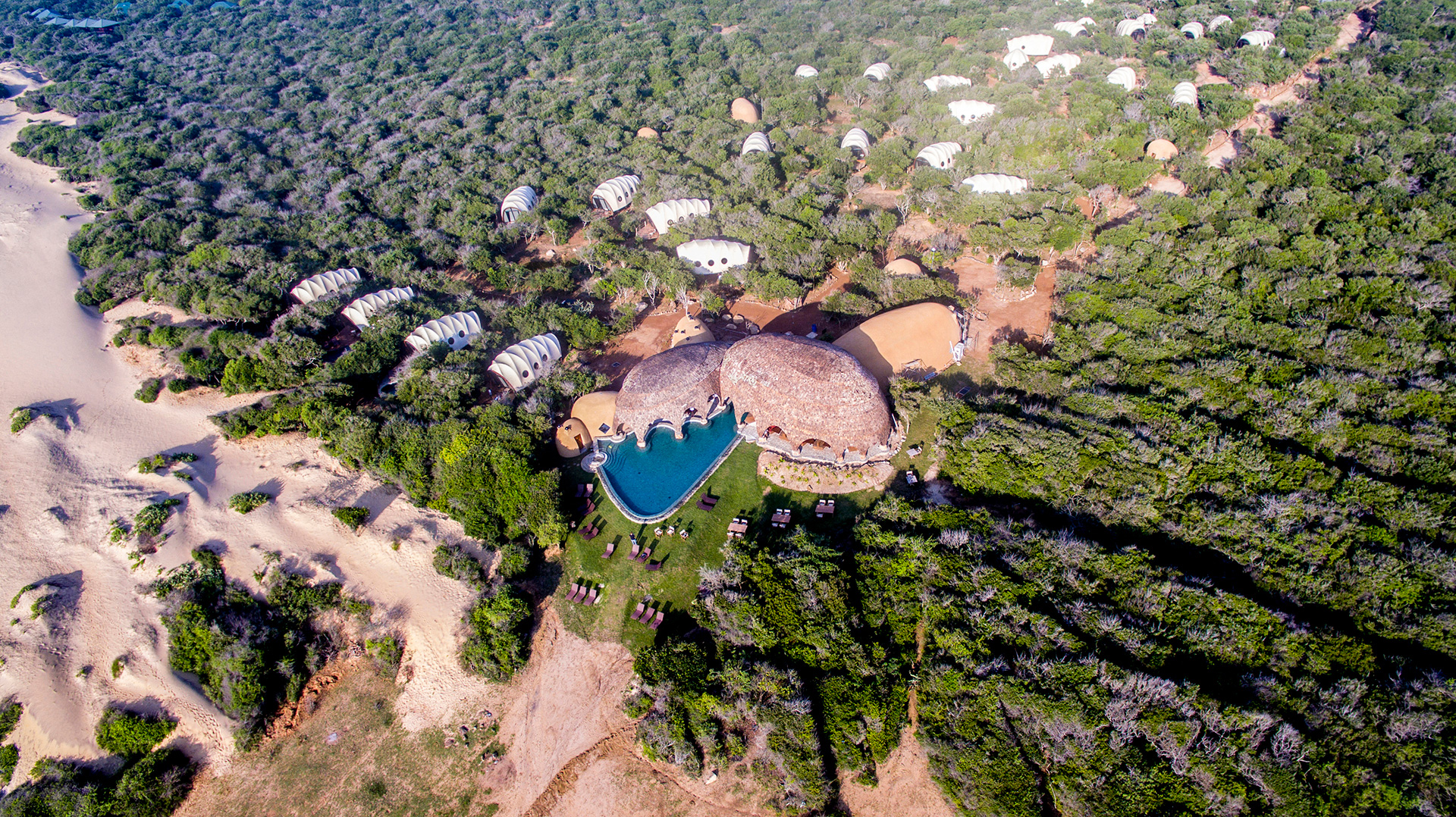 Aerial view of the Wild Coast Tented Lodge, Srilanka |Glamping| Resorts | STIRworld
