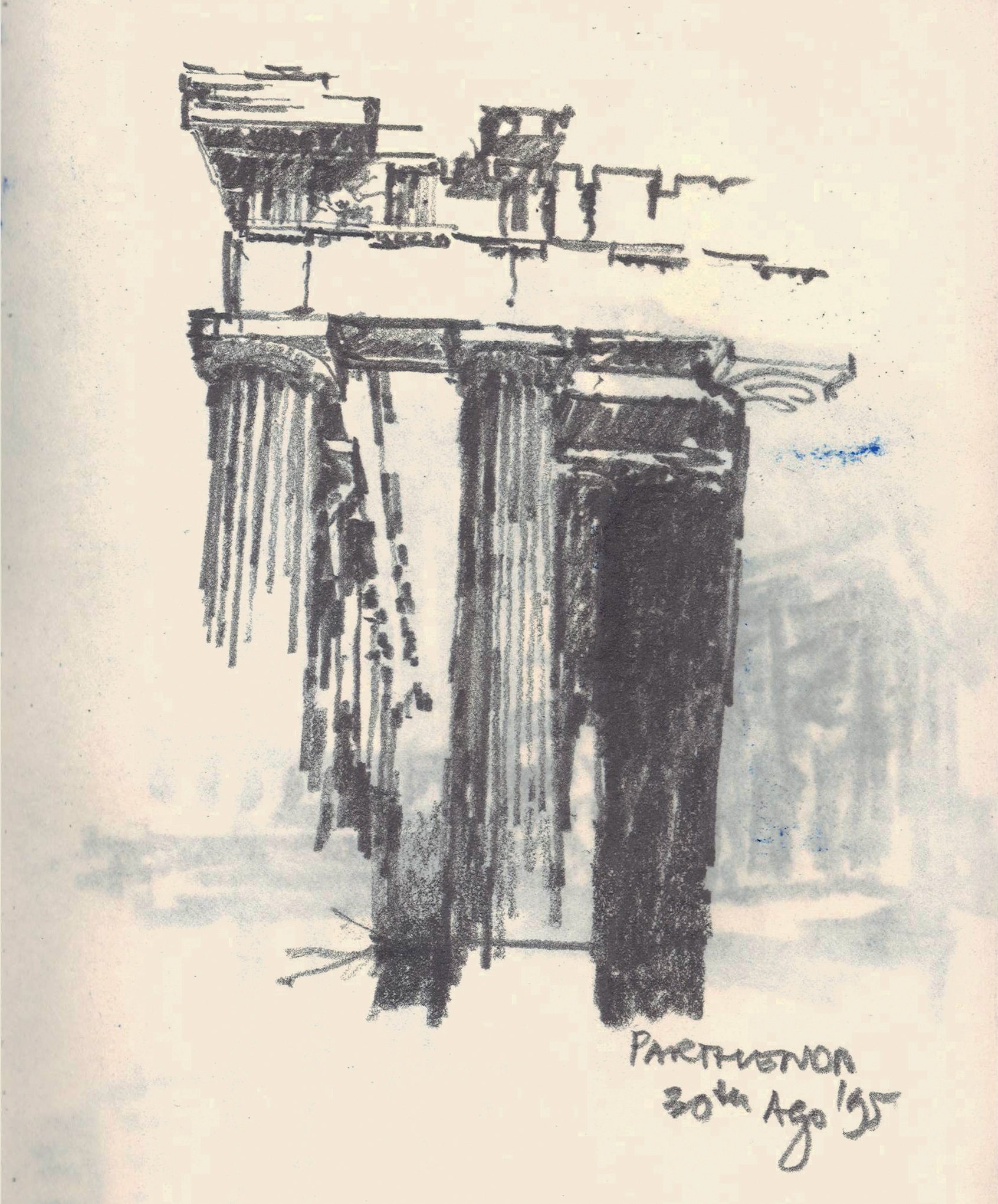 Sketch of the Parthenon by Riyaz Tayyibji |Acropolis |Riyaz Tayyibji | STIRworld