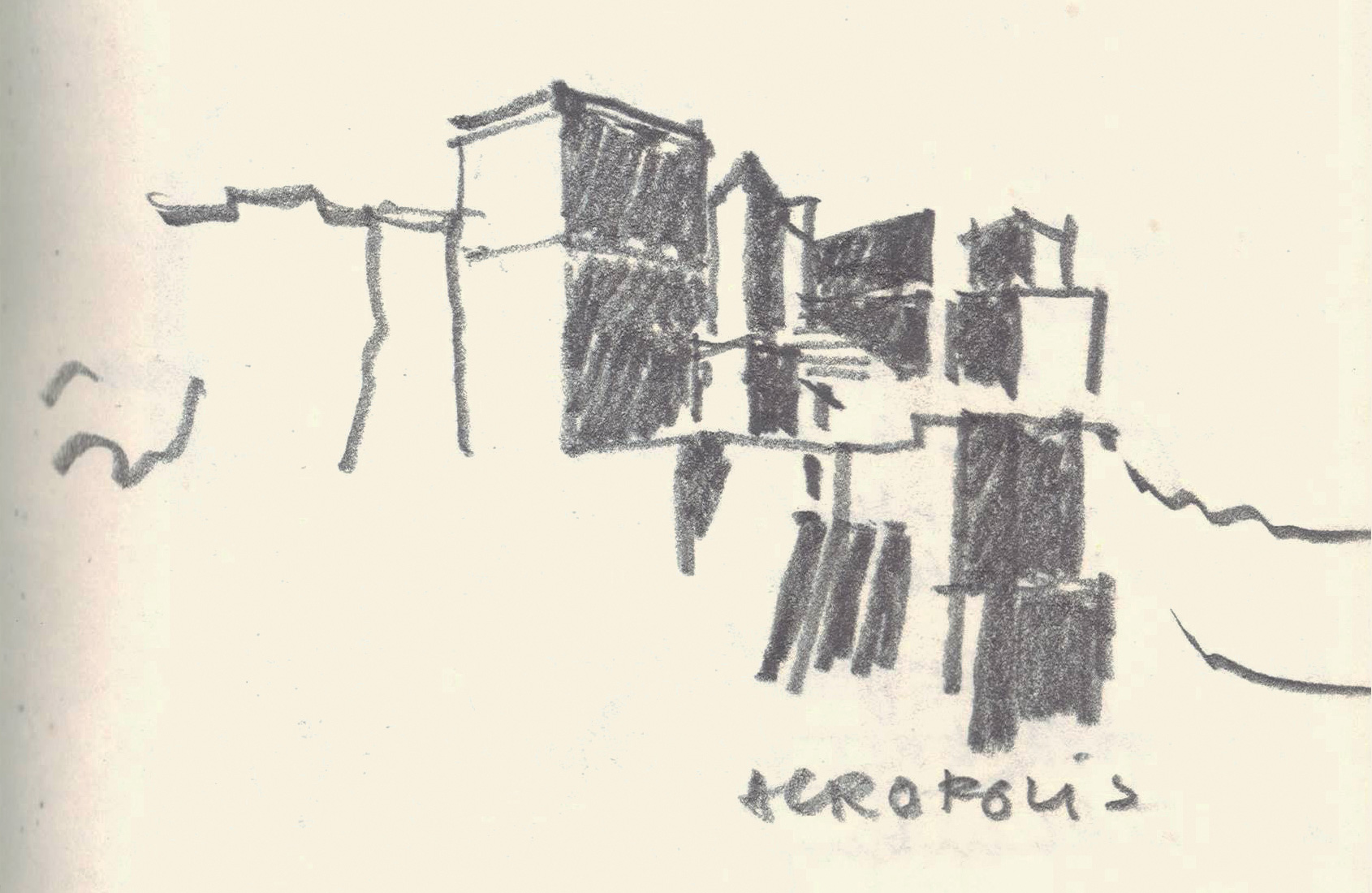 Sketch of the Acropolis by Riyaz Tayyibji |Acropolis |Riyaz Tayyibji | STIRworld
