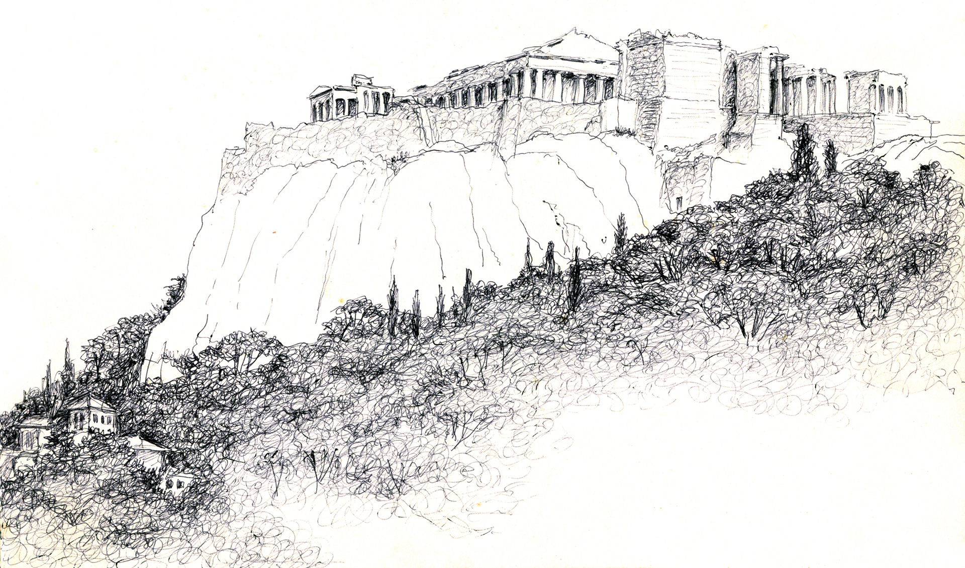 Sketch of the Acropolis by Shirish Beri |Acropolis | Shirish Beri | STIRworld