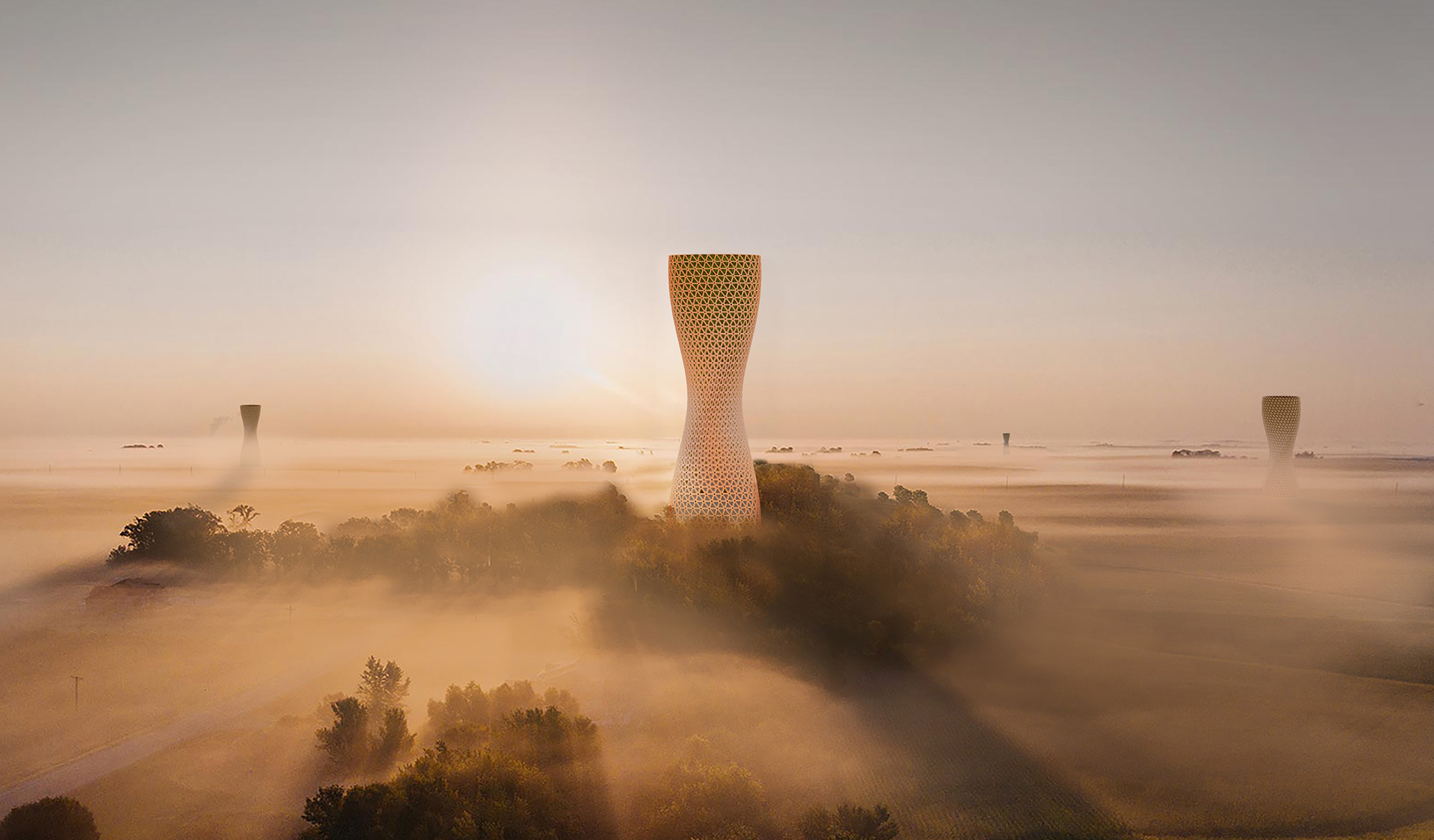 The 60 meters high Aura Hive towers in the periphery of the city | Aura | Studio Symbiosis | STIRworld