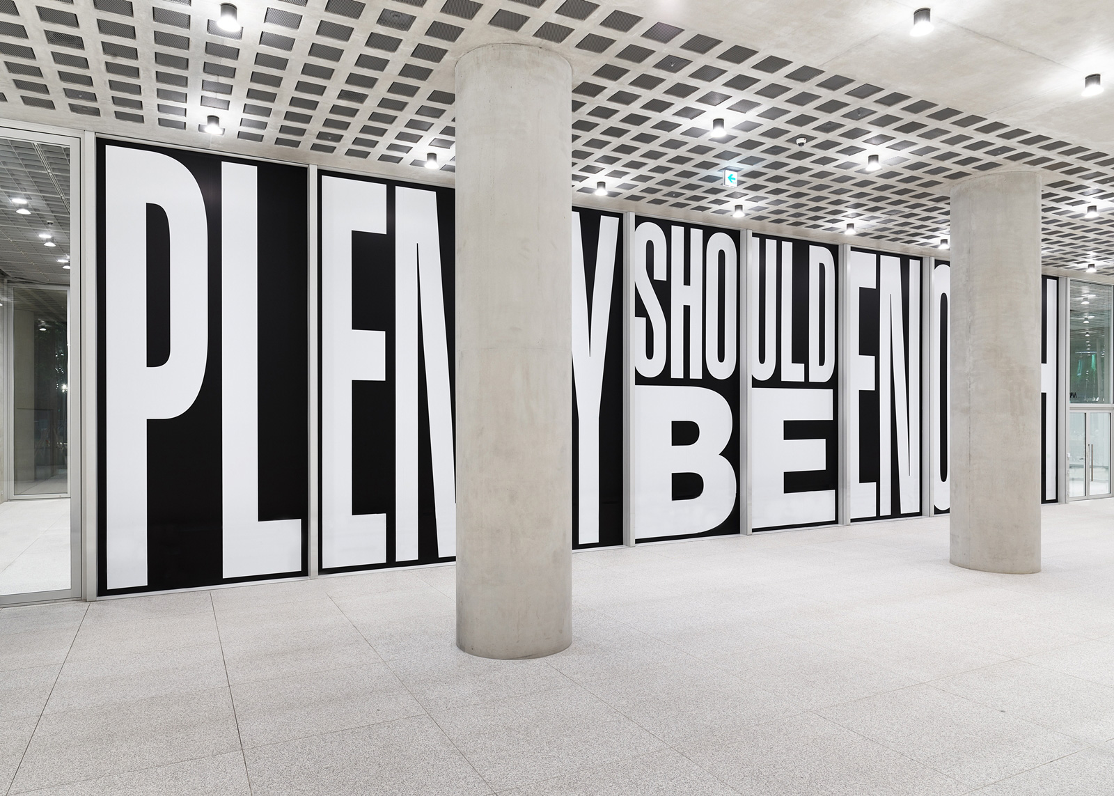 Barbara Kruger, Untitled (Plenty should be enough), 2018, Digital print on vinyl wallpaper, 600 x 2,170 cm | Barbara Kruger | STIRworld