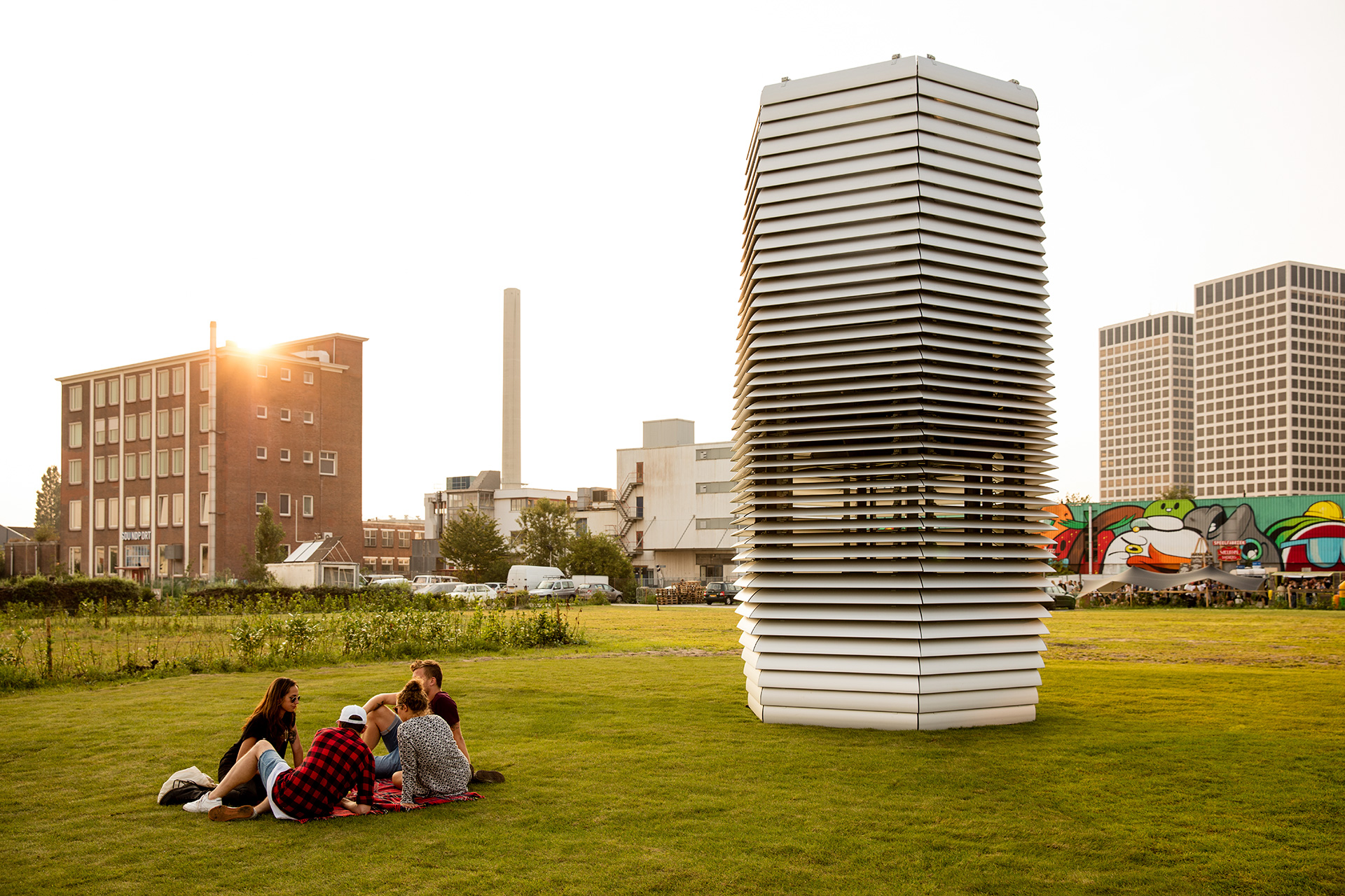 The Smog Free Tower employed in public parks to clean the air| The Smog Free Project | Daan Roosegaarde | STIRworld
