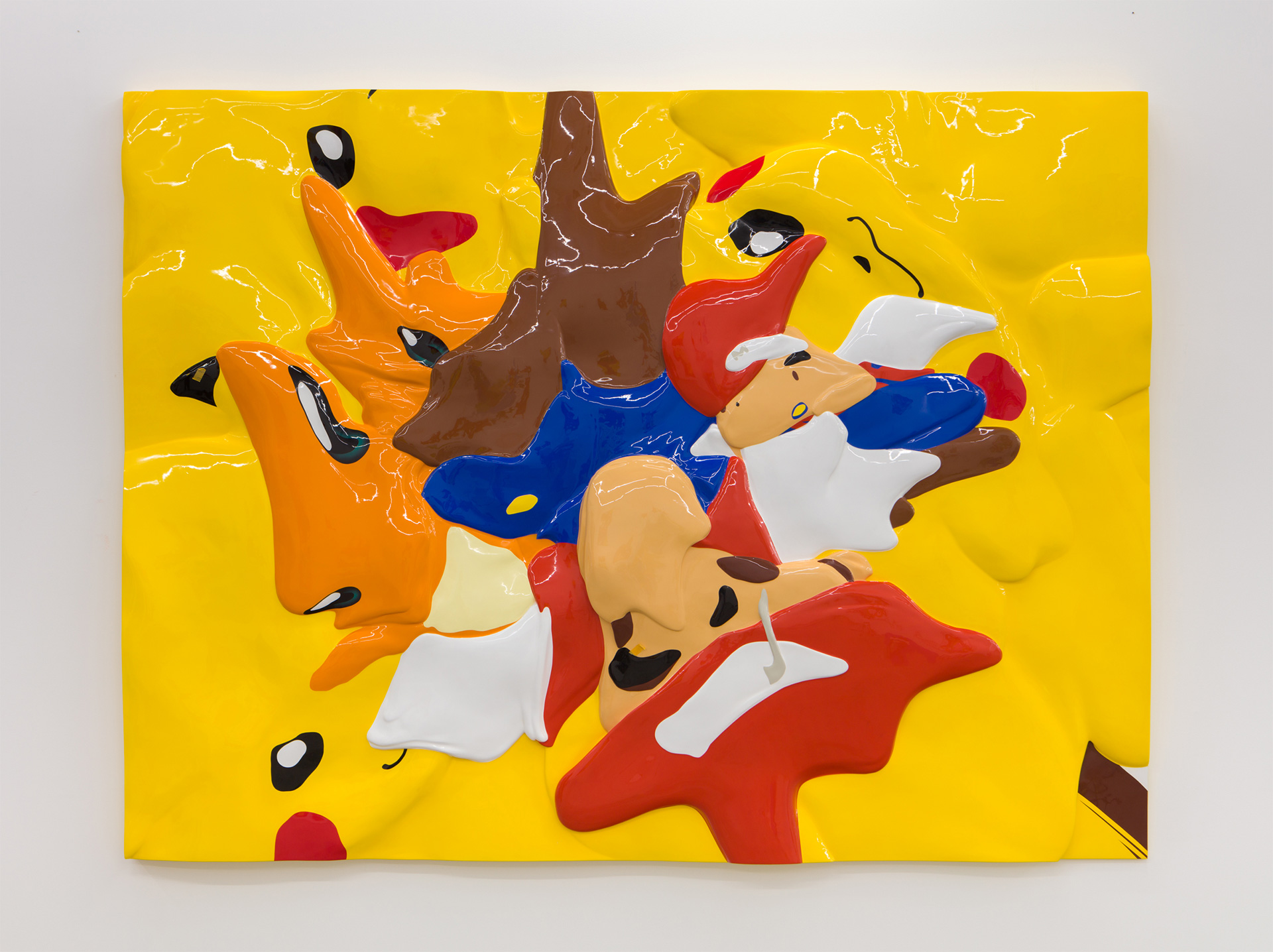 Communication - multiple cartoon characters merged into a relief surface | Xu Zhen | Hello | MadeIn Gallery | STIRworld