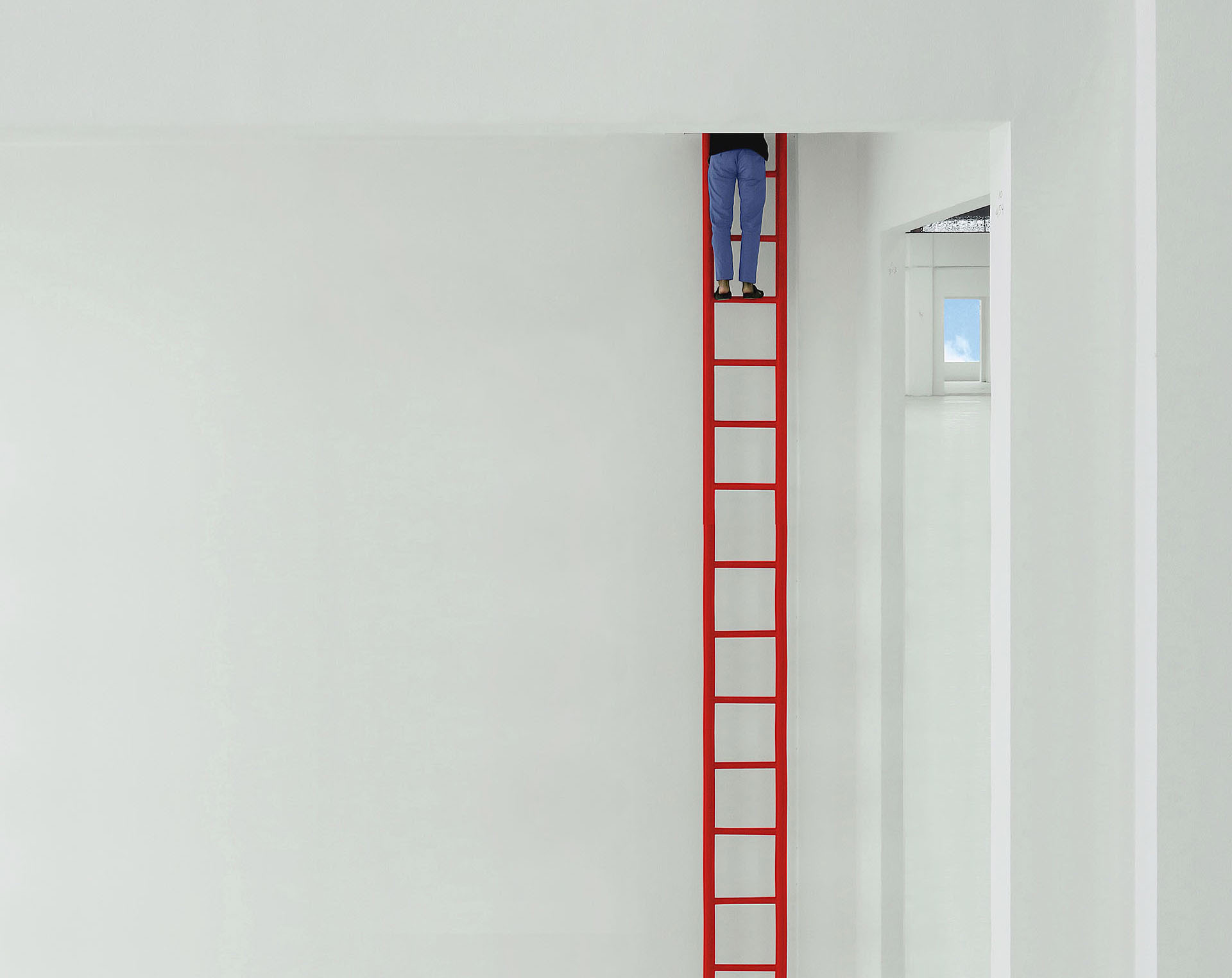 A white room and a red ladder - a quirky capture by Ramadhian | Andhika Ramadhian | STIRworld