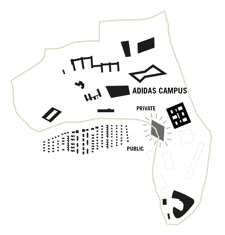 A drawing demarcating private and public spaces of the adidas campus | Adidas HALFTIME | COBE | STIRworld