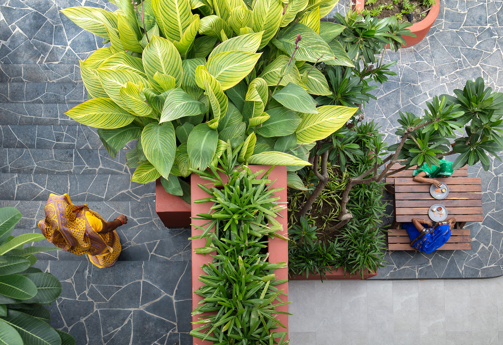 Planters lend a welcoming contrast to the overarching warmth of the central court | The Village Café | Portal 92 | STIRworld