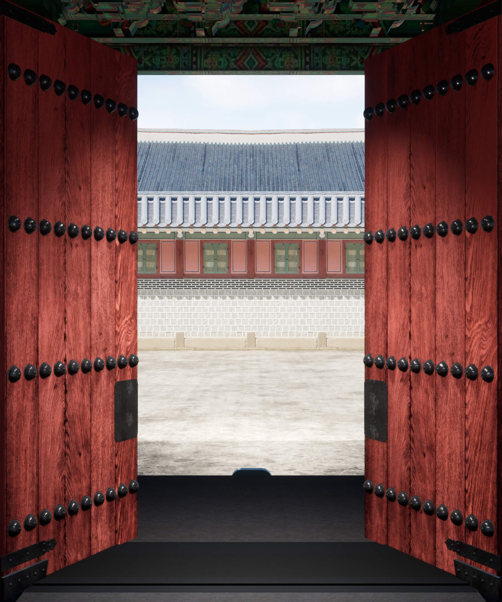 The video begins with closed red timber gates with their metal bolts alluding to the traditional Dancheong aesthetics. | Gate of Bright Lights | Space Popular | STIRworld
