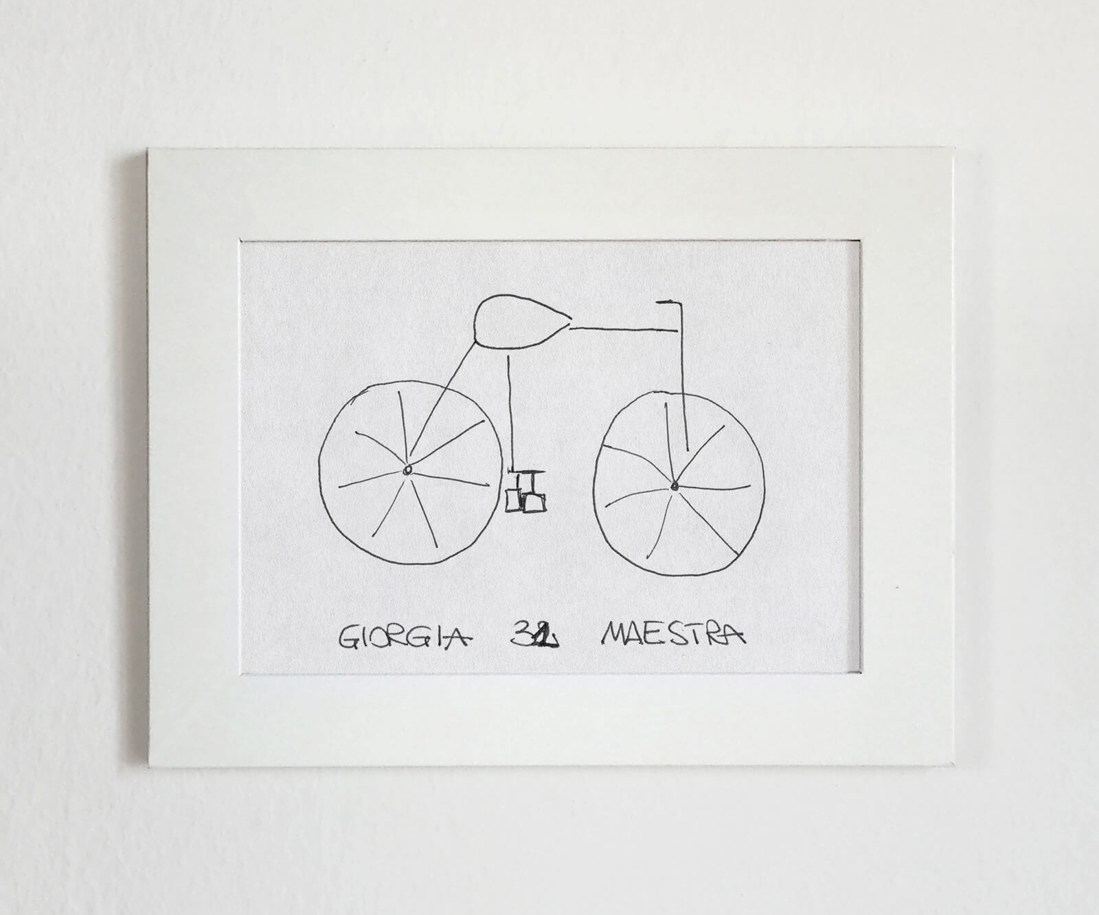 Giorgia, a participant, draws an almost disconnected design with big wheels and pedals only connected to the seat | Velocipedia | Gianluca Gimini | STIRworld
