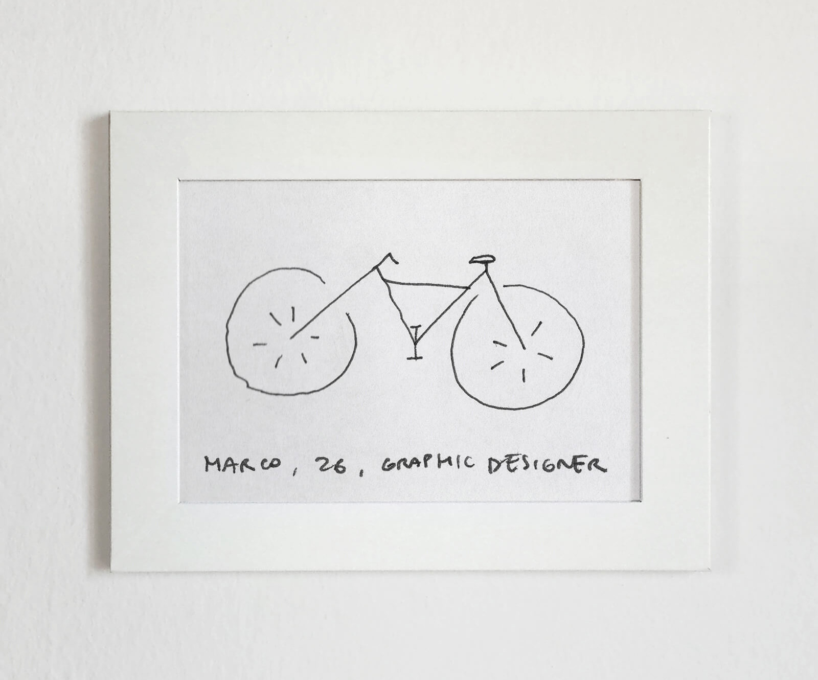 The design by  36-year-old graphic designer Marco is huge wheels bicycle in a one line drawing | Velocipedia | Gianluca Gimini | STIRworld