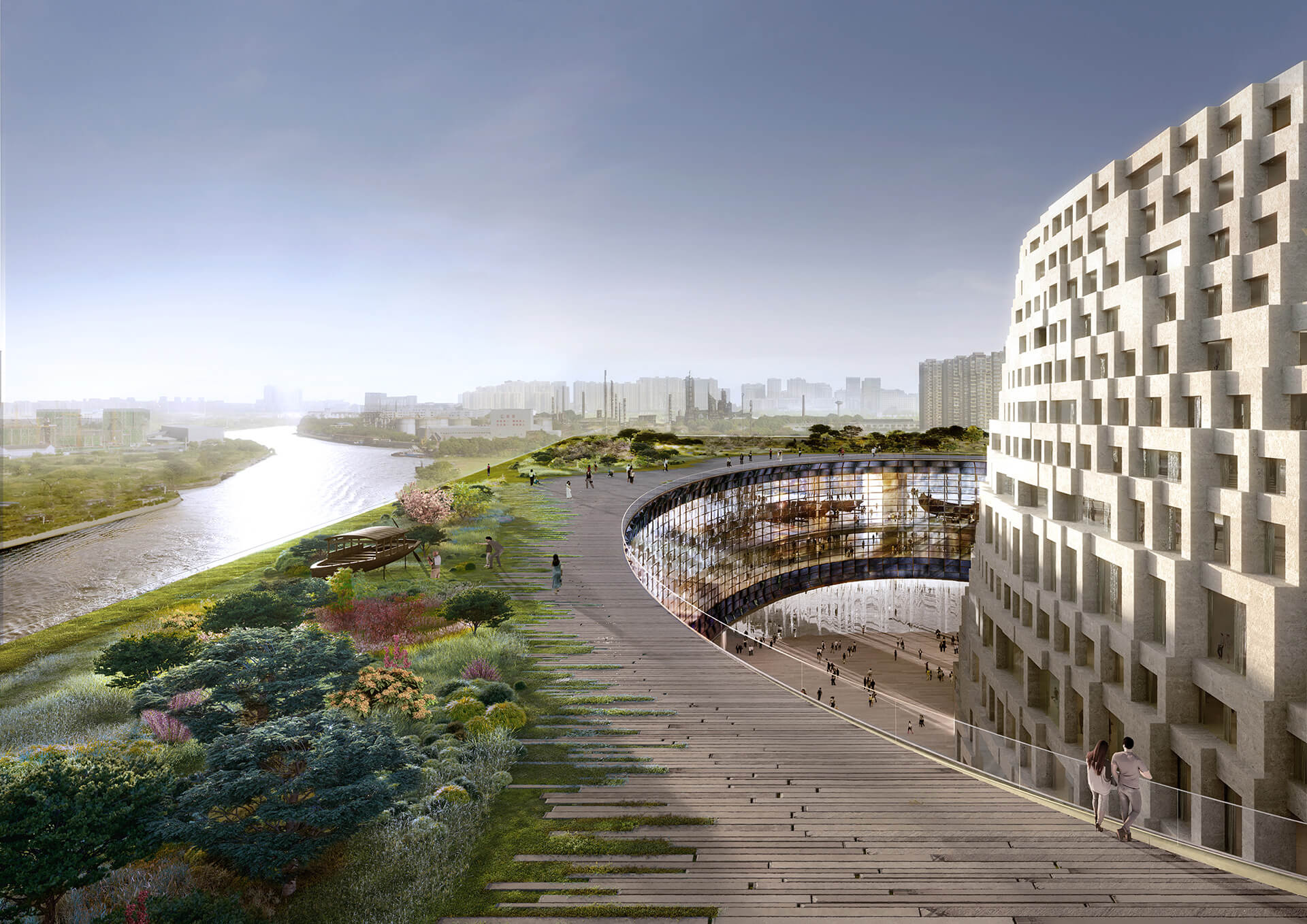 The green terrace of the museum overlooking the Grand Canal | Grand Canal Museum | Herzog & de Meuron | STIRworld