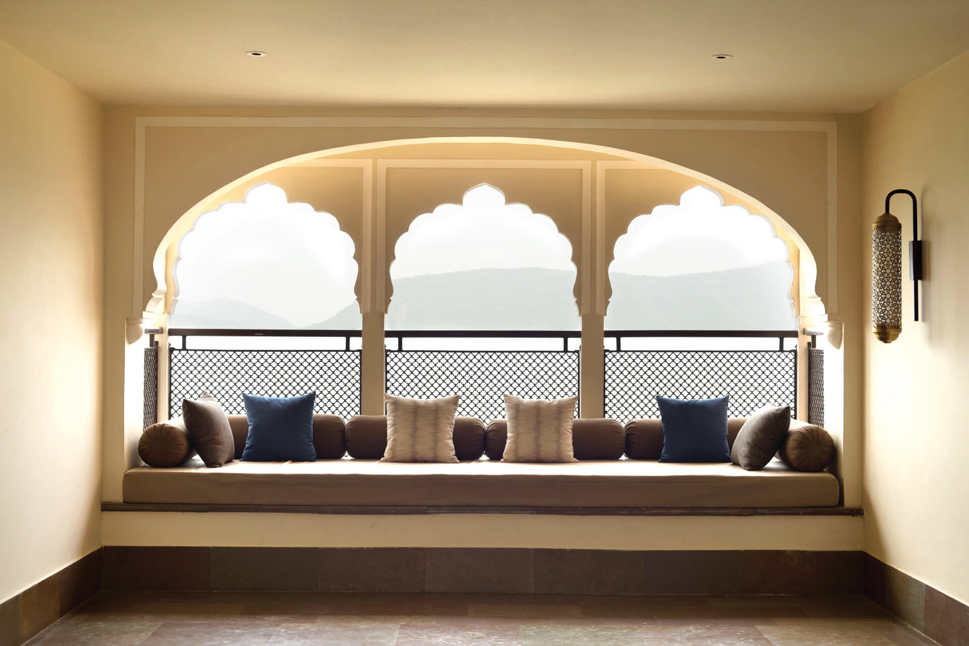 Seating overlooking the expanding view| Alila Bishangarh Fort |Sthapatya Architects | STIRworld