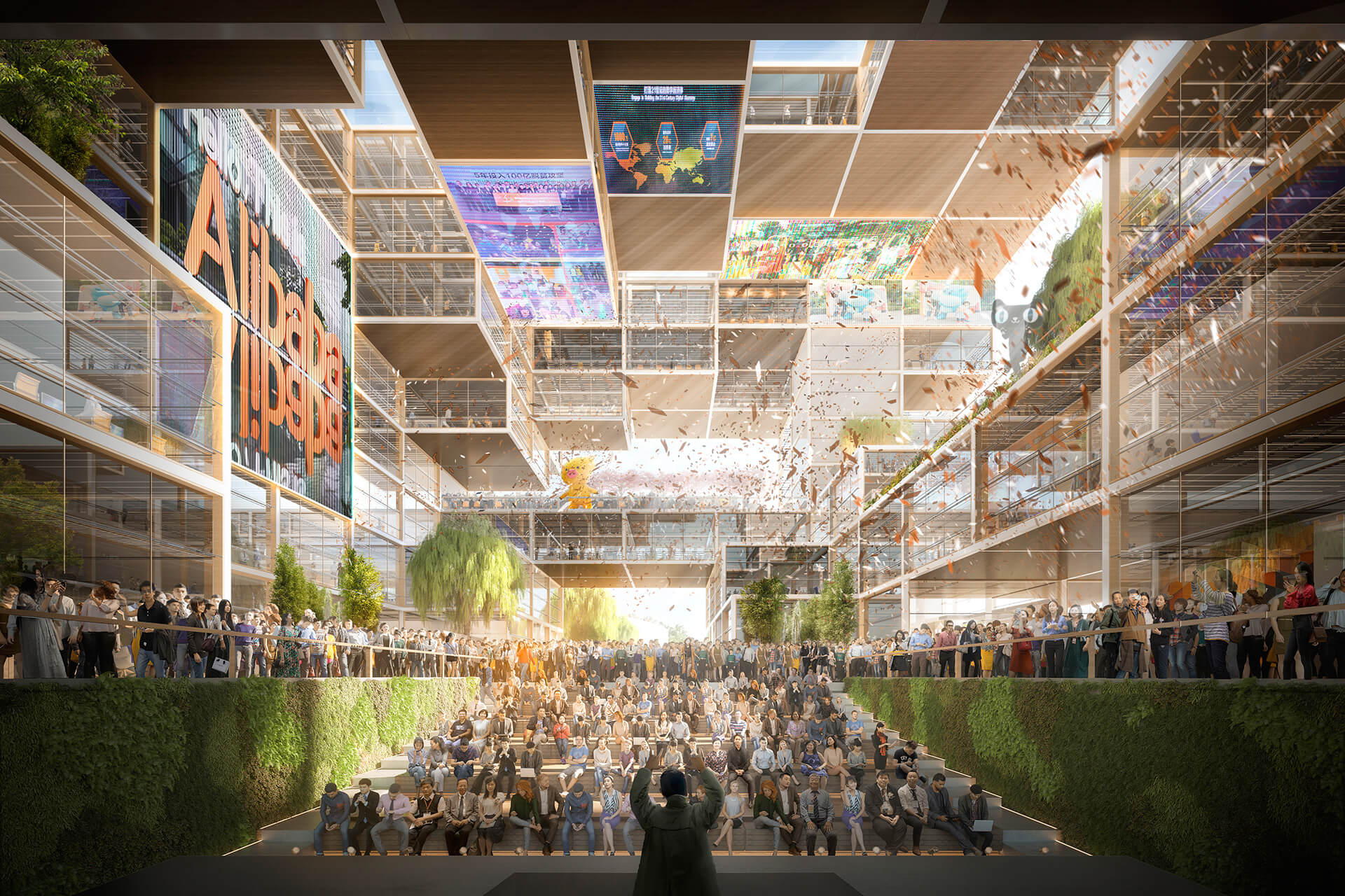 The design is planned around a central core, which opens up to a big public urban room | Alibaba Headquarters | Foster and Partners | STIRworld