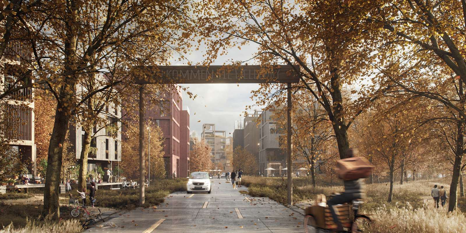 Connectivity within the neighbourhood is via narrow roads that reduce vehicular traffic and increase access to nature | Fælledby | Henning Larsen | STIRworld