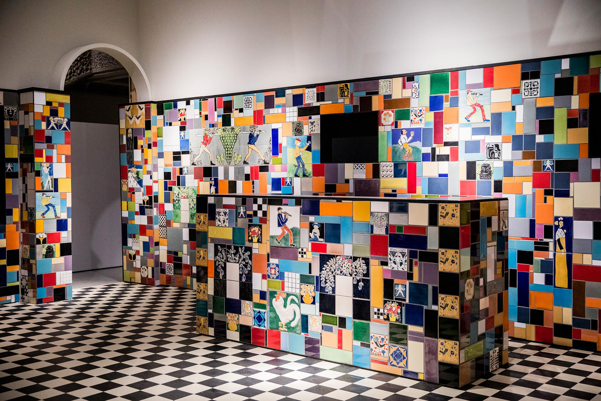 A recreation of the tiled bar from Vienna's Cabaret Fledermaus comes to life at weekends when drinks are served  | Into the Night: Cabarets and Clubs in Modern Art | Barbican Centee | STIRworld