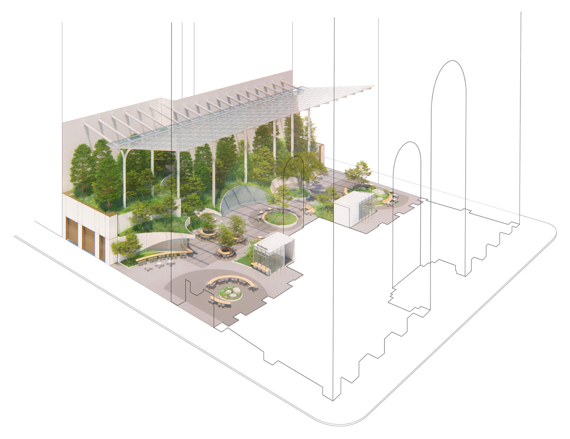 Axonometric view of garden, looking north, revealing connections to the building and streets | 550 Madison Garden | The Olayan Group | Snøhetta | STIRworld