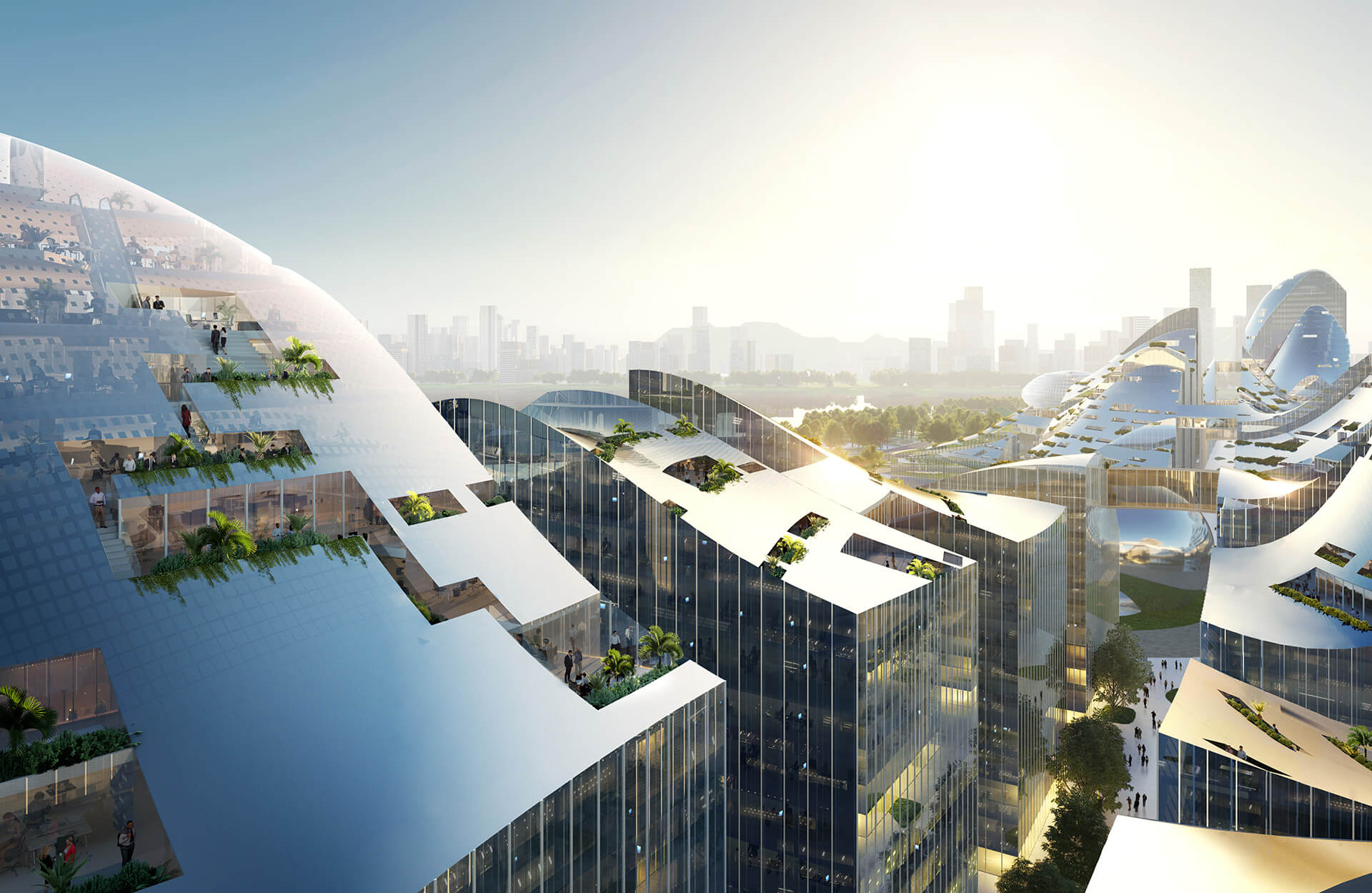 Over 100 buildings within the masterplan feature undulating solar roofs   | New Tencent Headquarters Campus | MVRDV | STIRworld