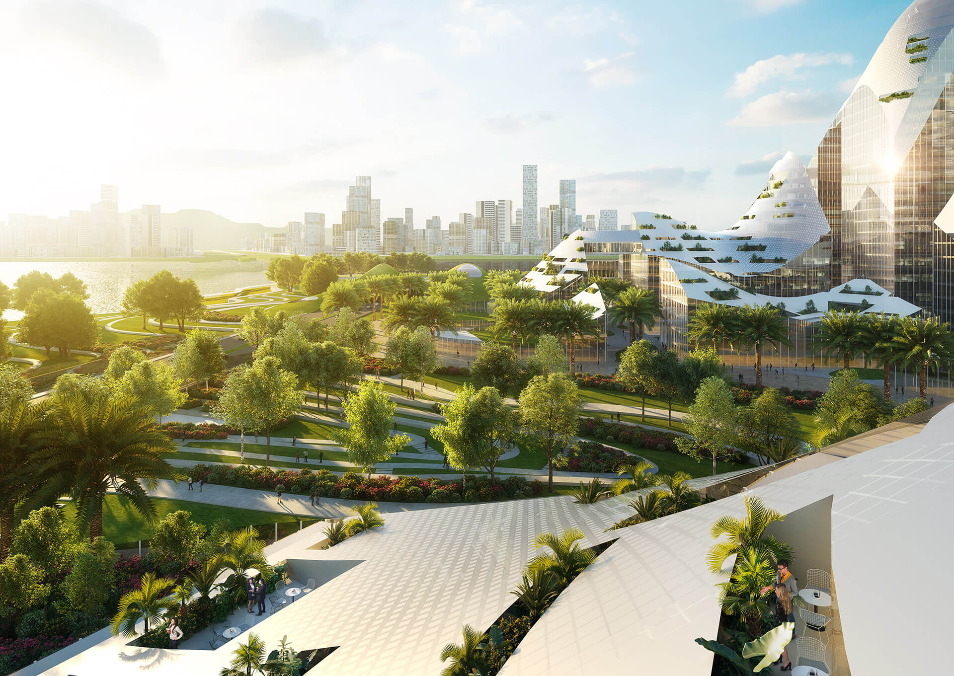 A waterfront park winds its way along the entire eastern side of the site | New Tencent Headquarters Campus | MVRDV | STIRworld