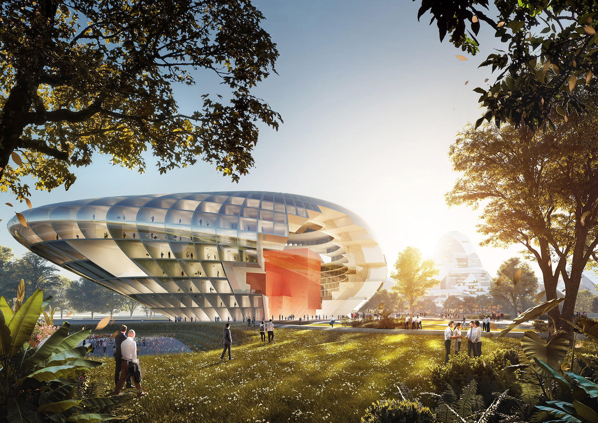Conference centre at the southern end of the park sits like a rock at the foot of the hill  | New Tencent Headquarters Campus | MVRDV | STIRworld